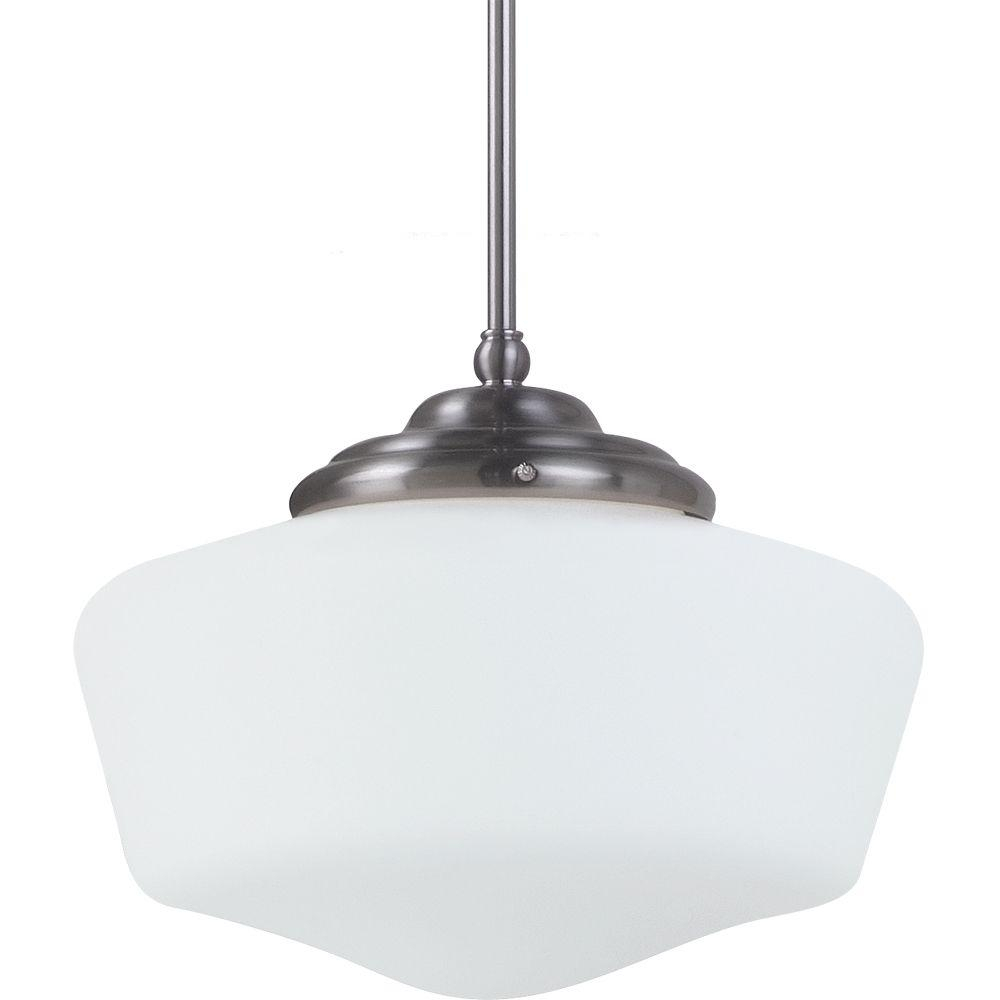 Sea Gull Lighting Academy Medium 11.5 In. W. X 9.75 In. H. 1-Light Brushed  Nickel Pendant With Satin White Glass Shade with regard to 1-Light Single Schoolhouse Pendants (Image 30 of 30)