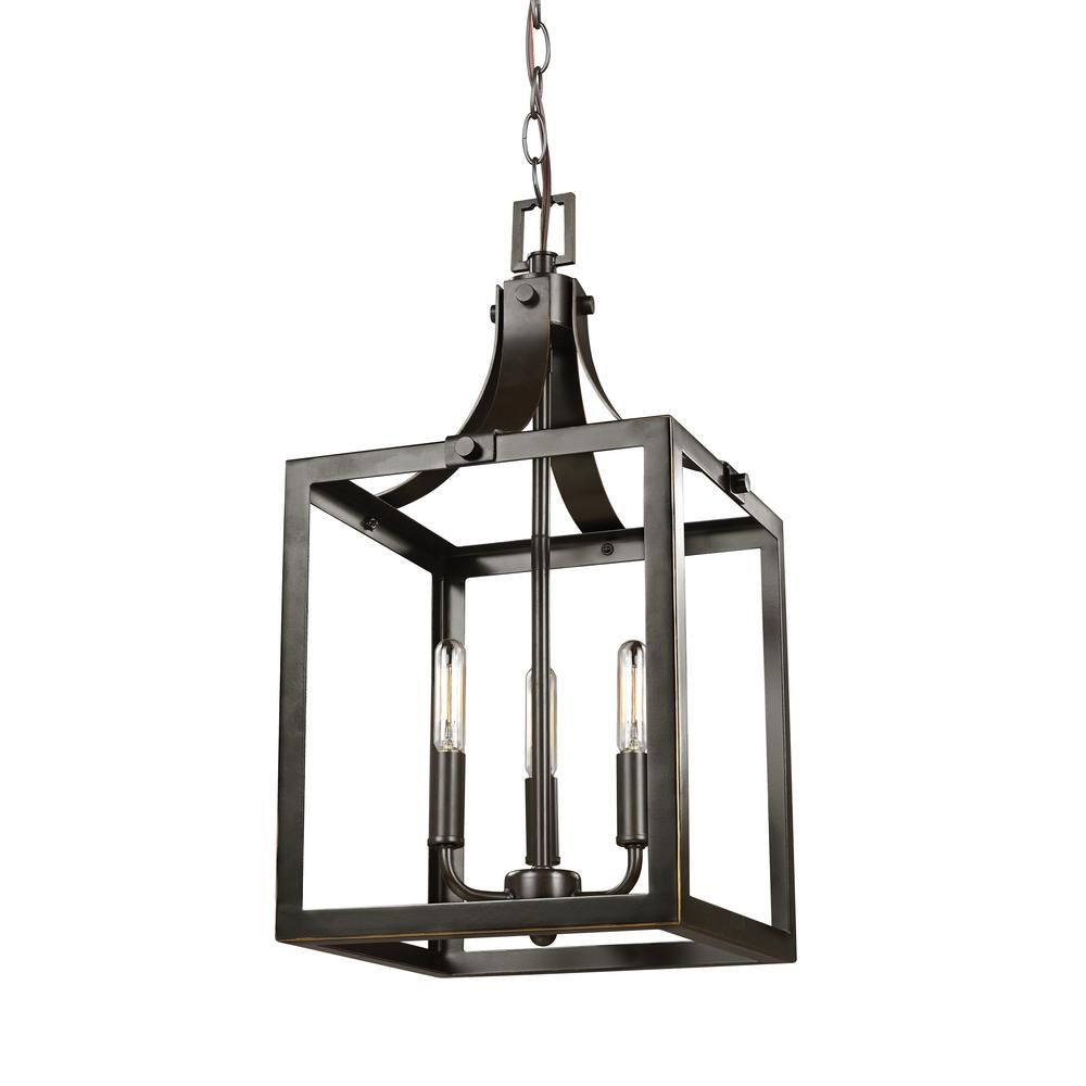 Sea Gull Lighting Labette 3-Light Heirloom Bronze Hall-Foyer with Sherri-Ann 3-Light Lantern Square / Rectangle Pendants (Image 19 of 30)