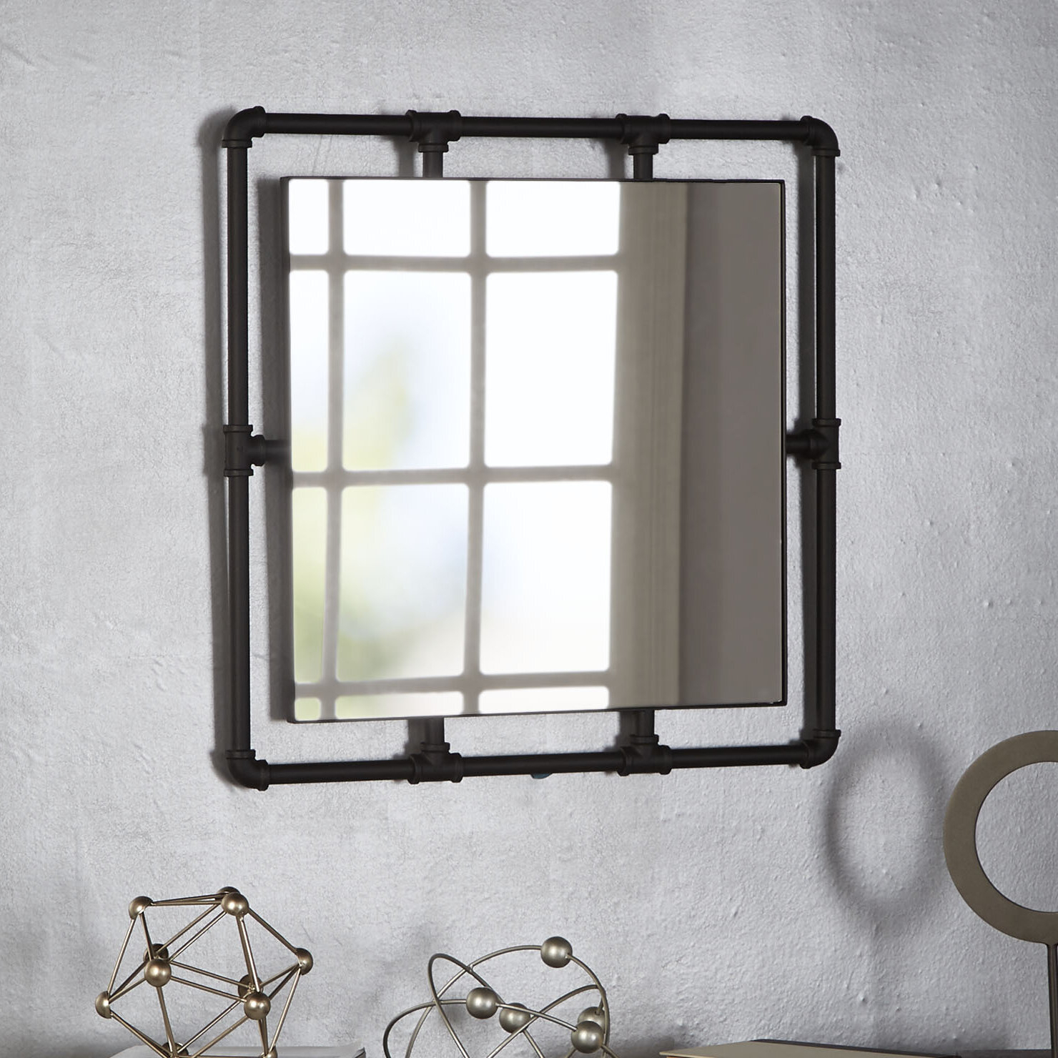 Seltzer Industrial Square Pipe Fitting Accent Mirror Inside Austin Industrial Accent Mirrors (Image 20 of 30)
