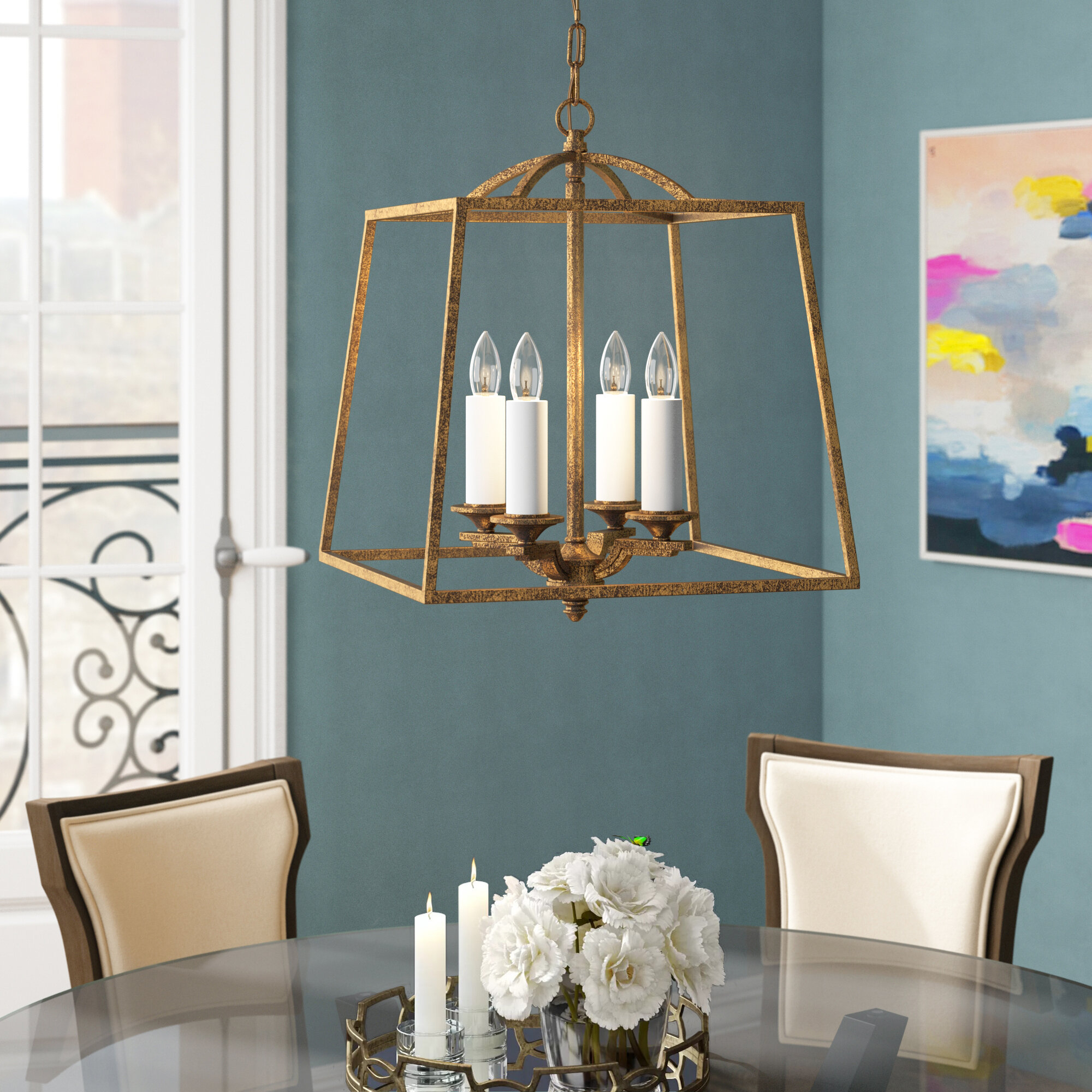 Senter 4-Light Lantern Geometric Pendant with regard to Isoline 2-Light Lantern Geometric Pendants (Image 25 of 30)