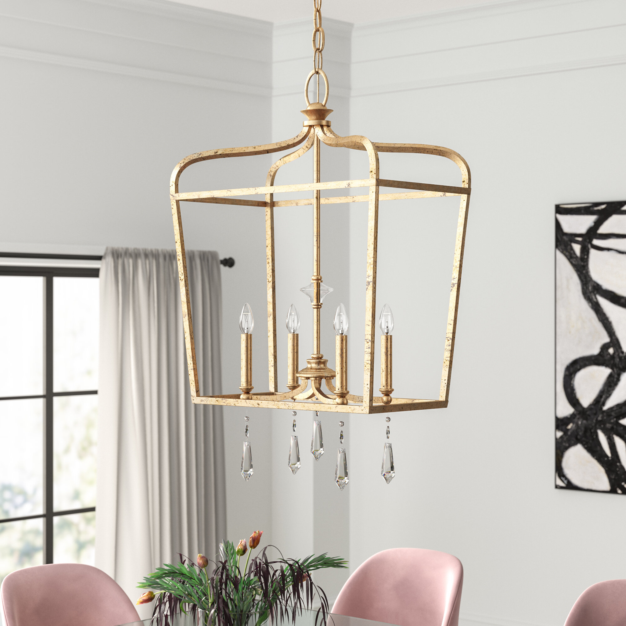 Seraphine 4 Light Lantern Geometric Pendant & Reviews | Joss With Regard To Carmen 4 Light Lantern Geometric Pendants (View 28 of 30)
