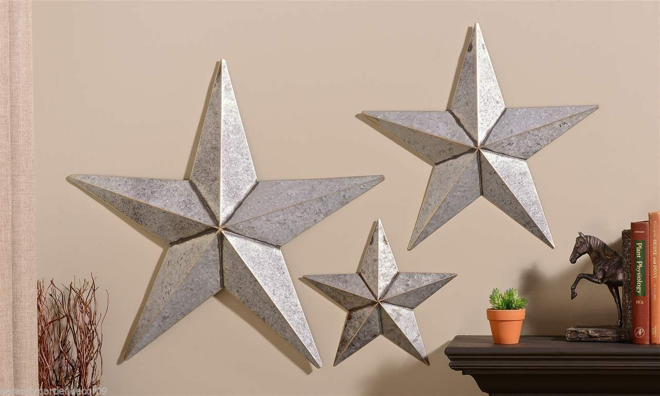 "Set Of 3 Antiqued Silver Metal Star Design Wall Decor – 26"" – 19"" – 12"" New Within 3 Piece Star Wall Decor Sets (View 18 of 30)"