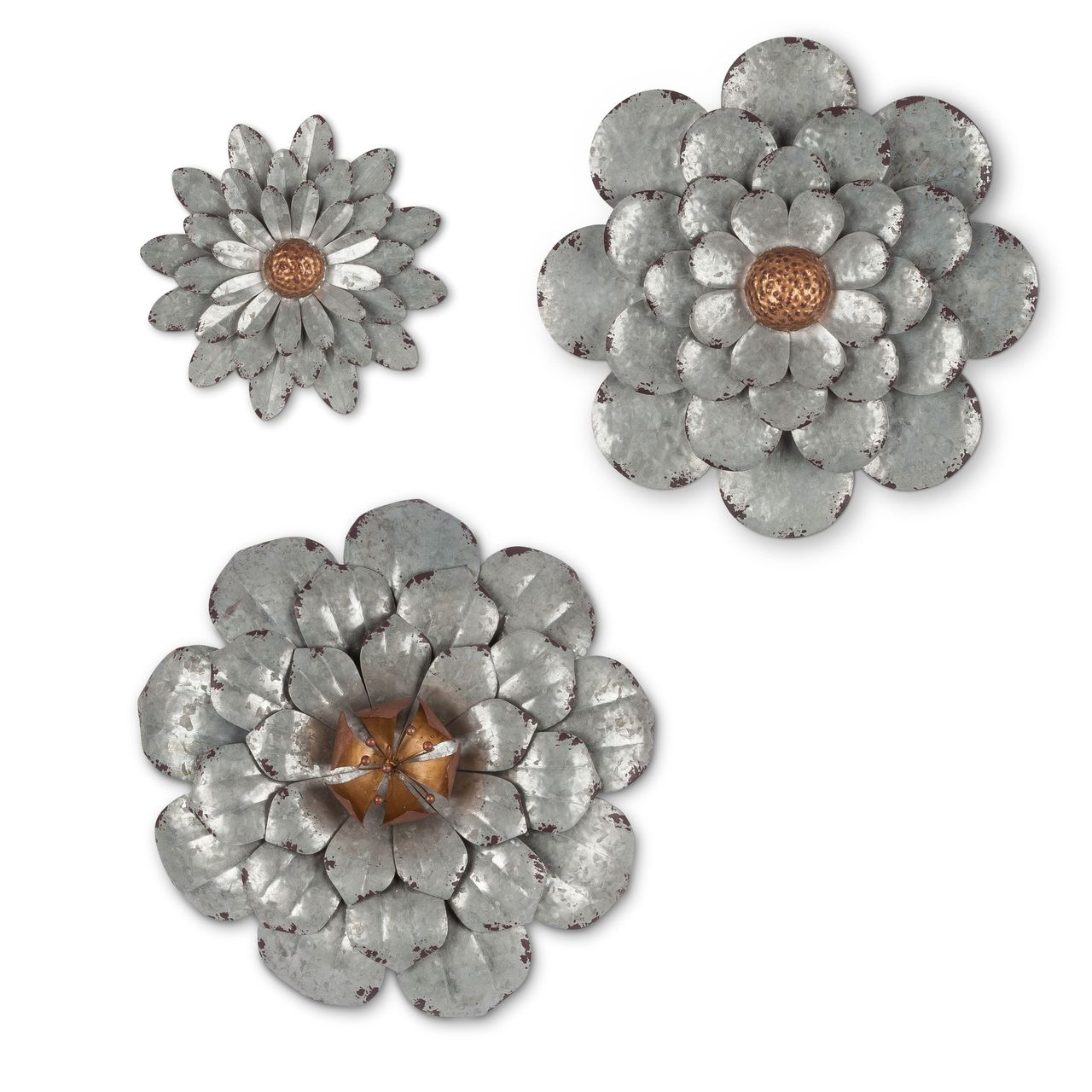 Set Of 3 Galvanized Wall Flowers | Home | Flower Wall Decor Intended For Metal Flower Wall Decor (Set Of 3) (View 18 of 30)