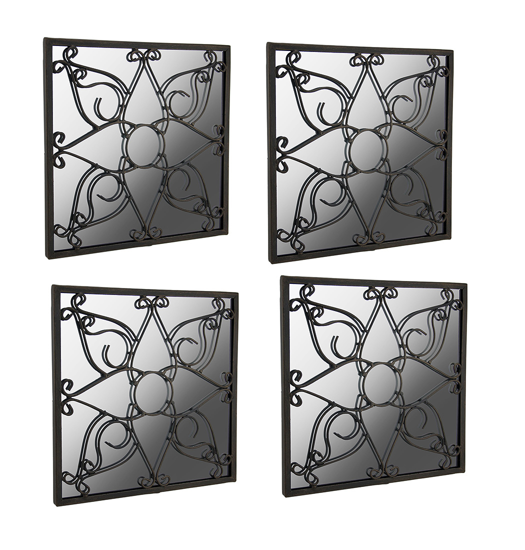 Set Of 4 Metal Flower Medallion Scroll Square Accent Mirrors Pertaining To Medallion Accent Mirrors (View 28 of 30)