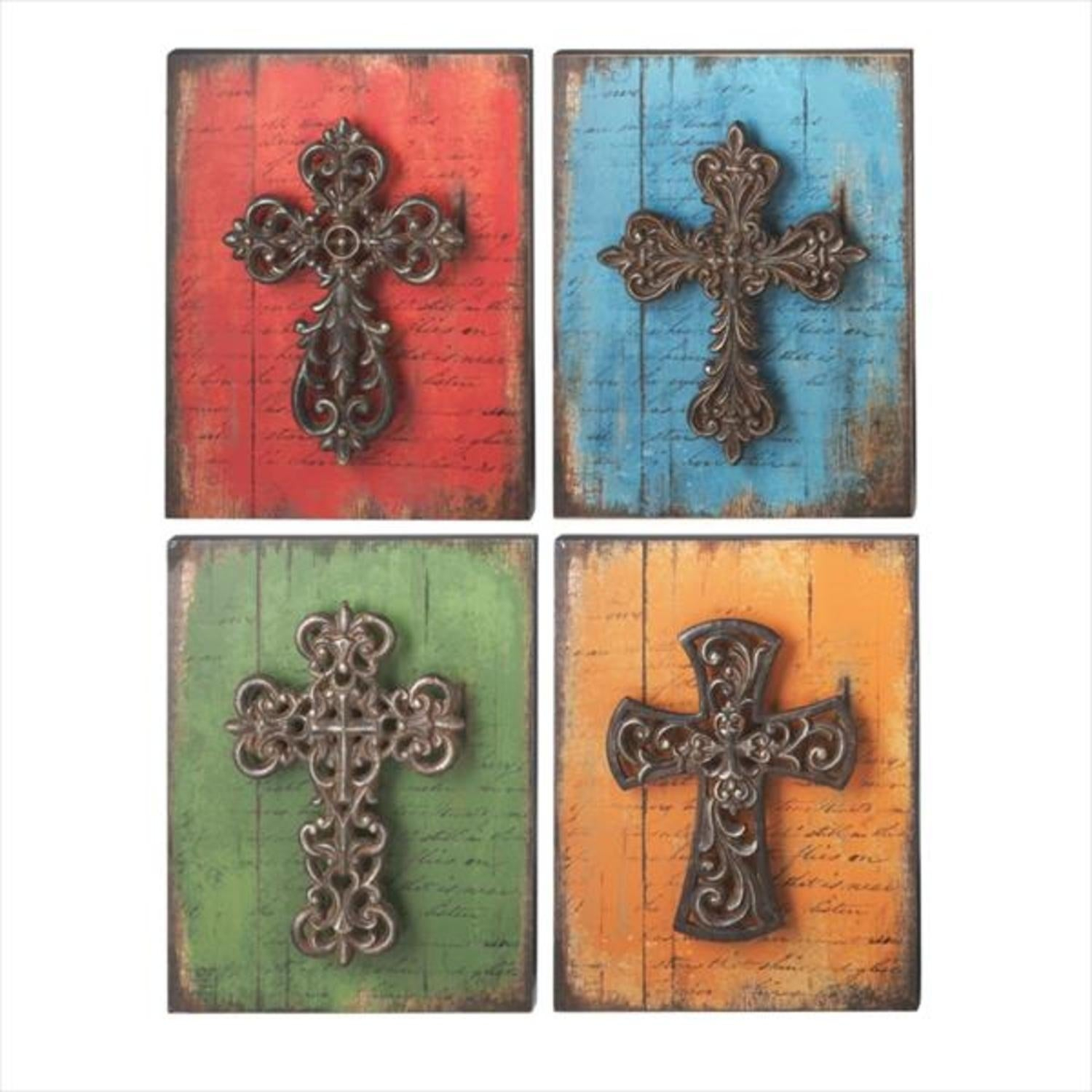 """Set Of 4 Red, Blue, Green And Gold Scroll Cross With Script Accent  Religious Wall Decor 13"""" - N/a in Ornate Scroll Wall Decor (Image 19 of 30)"""