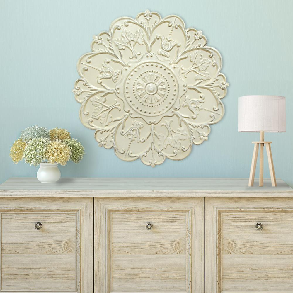 Shabby White Medallion Wall Decor throughout Small Medallion Wall Decor (Image 17 of 30)