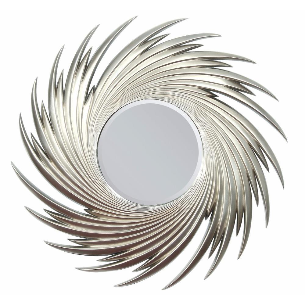 Sharp Frame Accent Mirror, Silverbenzara throughout Silver Frame Accent Mirrors (Image 24 of 30)