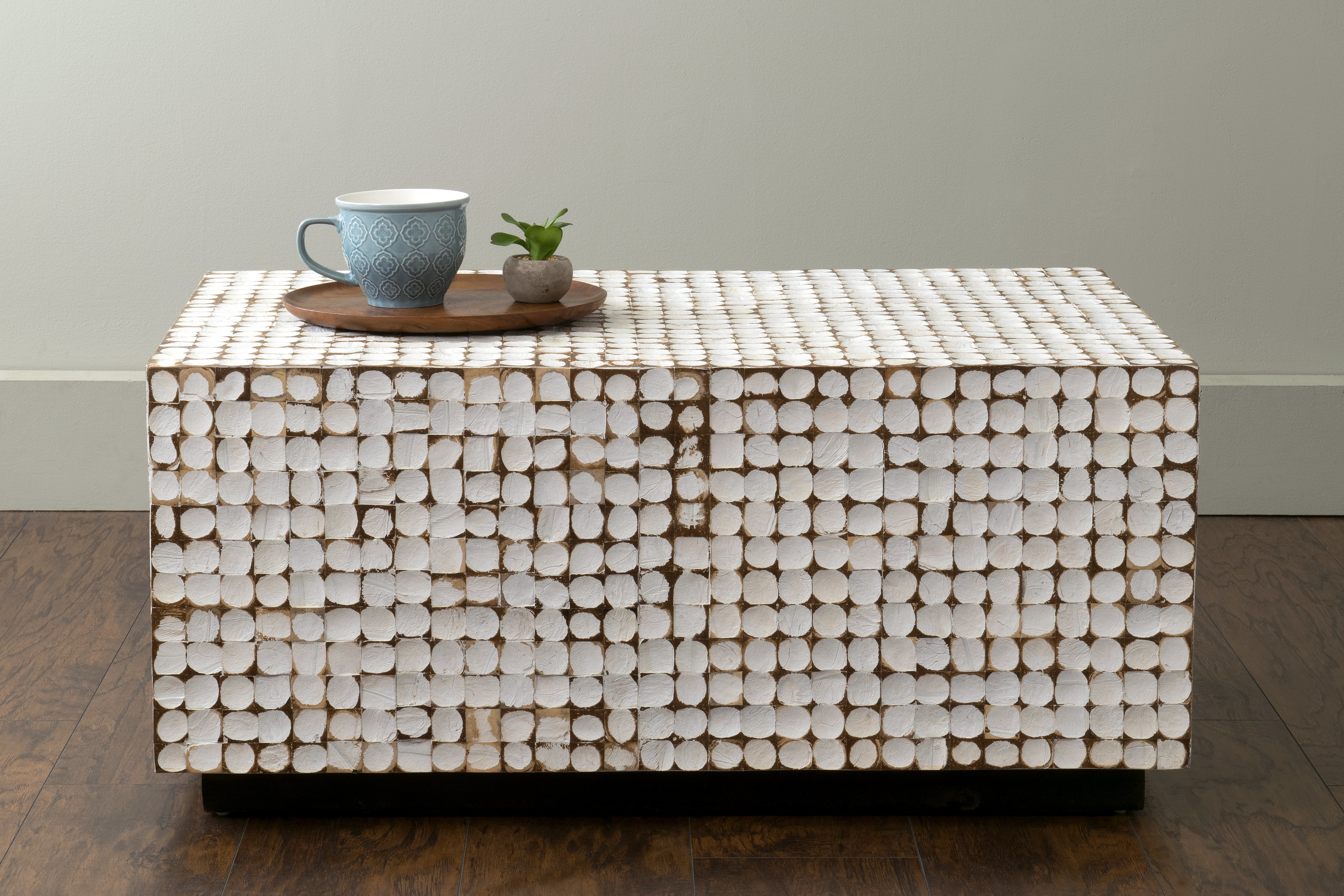 Sherlyn Coffee Table with Decorative Three Stacked Coffee Tea Cups Iron Widget Wall Decor (Image 22 of 30)