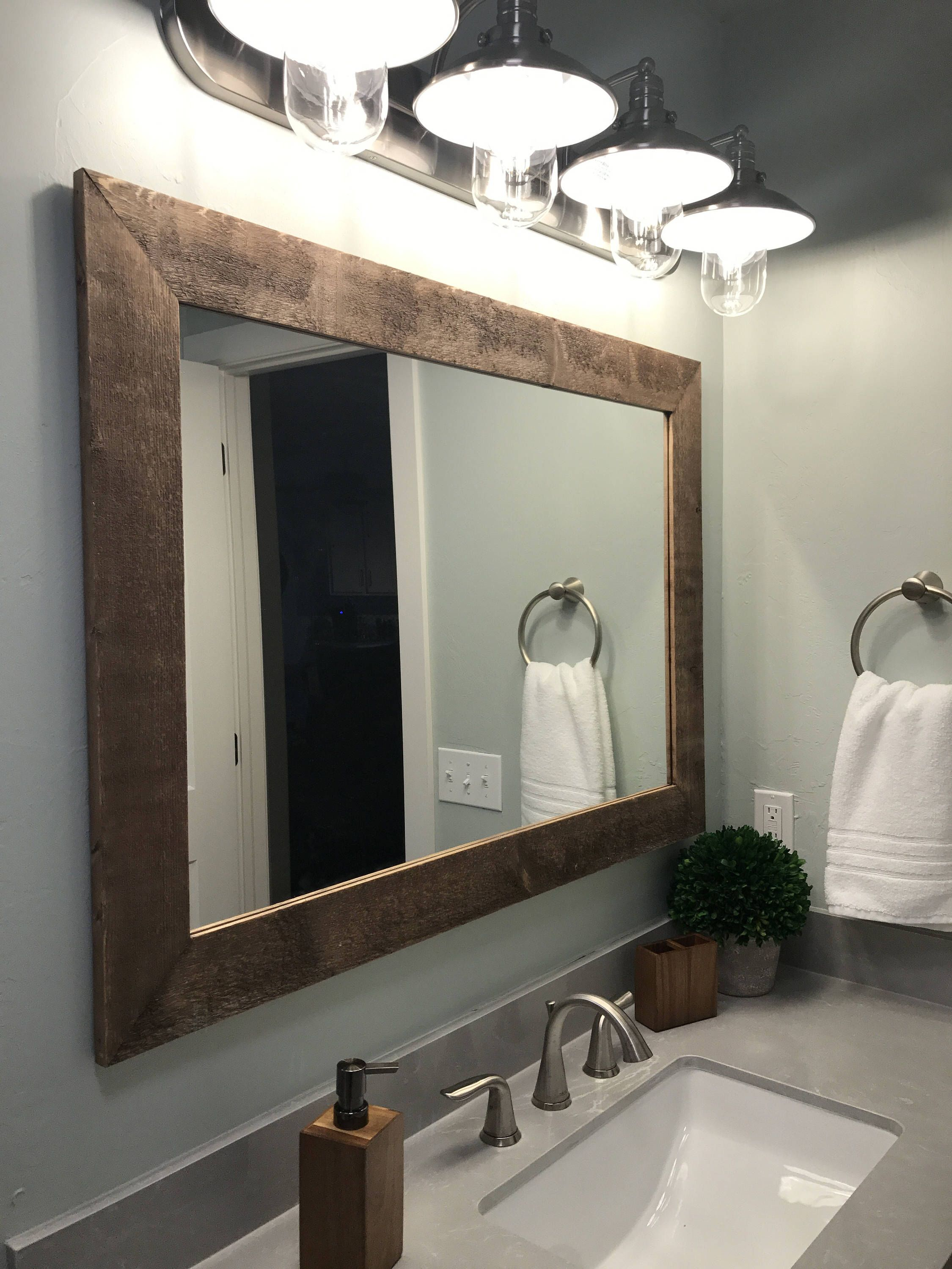 Shiplap Reclaimed Wood Mirror Shown In Special Walnut, 4 Pertaining To Landover Rustic Distressed Bathroom/vanity Mirrors (View 26 of 30)