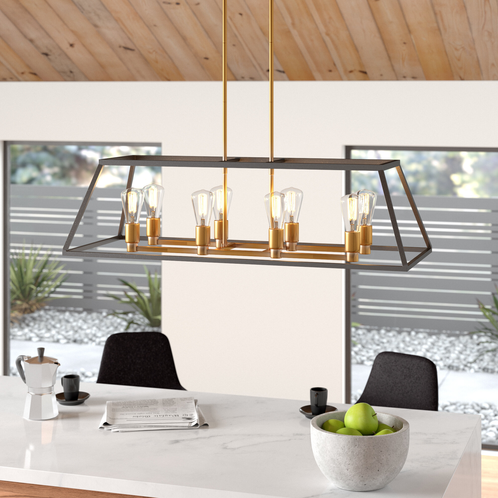 Shisler 8-Light Kitchen Island Linear Pendant pertaining to Odie 8-Light Kitchen Island Square / Rectangle Pendants (Image 27 of 30)