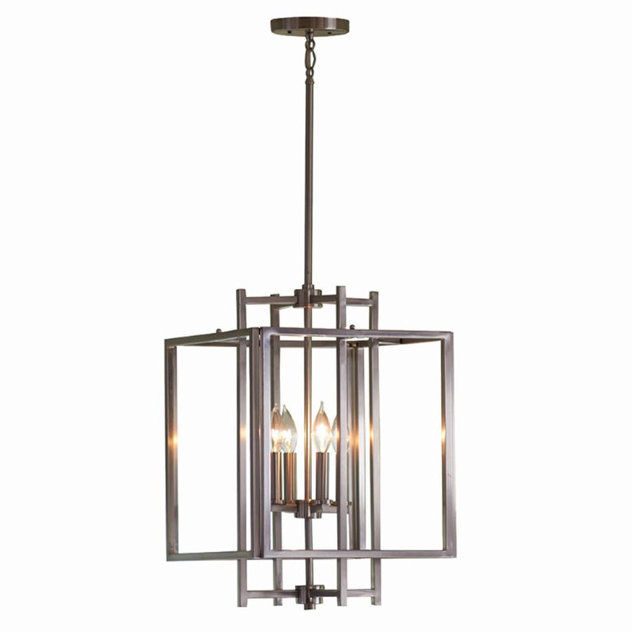 Shop Allen + Roth 14 In W Brushed Nickel Pendant Light With With Hewitt 4 Light Square Chandeliers (View 9 of 30)