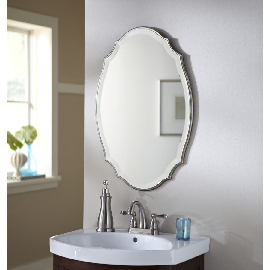 Shop Allen + Roth 20 In X 30 In Silver Beveled Oval Framed Regarding Egor Accent Mirrors (View 19 of 30)