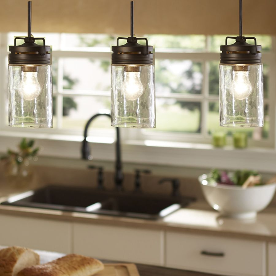 Shop Allen + Roth Vallymede 3.7-In W Aged Bronzemini Pendant within Schutt 4-Light Kitchen Island Pendants (Image 26 of 30)