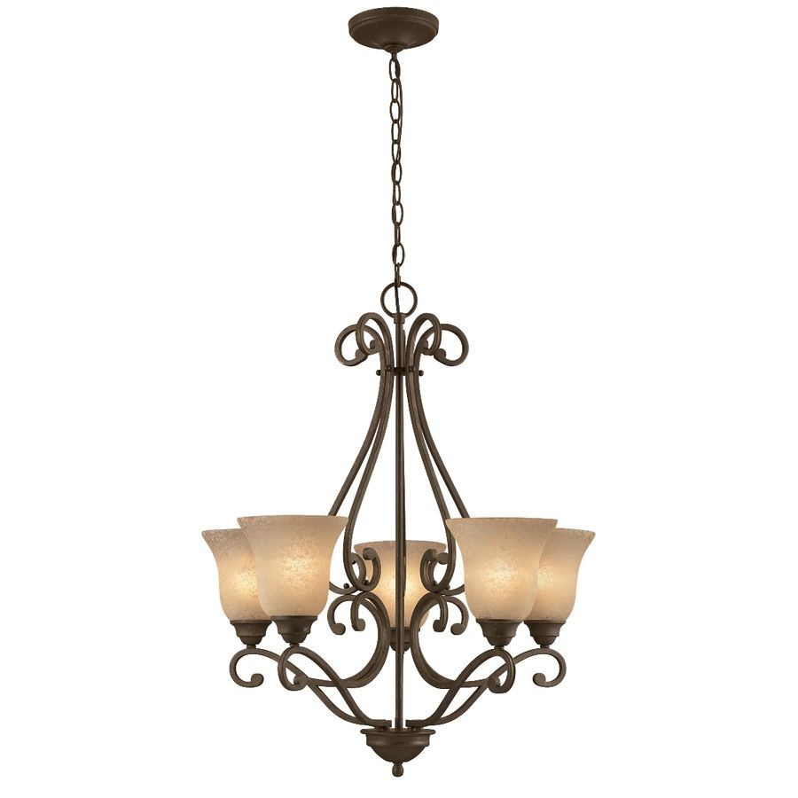 Shop Portfolio Linkhorn 5 Light Iron Stone Chandelier At Pertaining To Crofoot 5 Light Shaded Chandeliers (View 22 of 30)