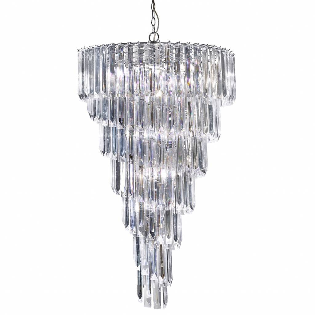 Signature - Large Cascading 9 Light Chandelier - Clear Acrylic Prisms within Camilla 9-Light Candle Style Chandeliers (Image 25 of 30)