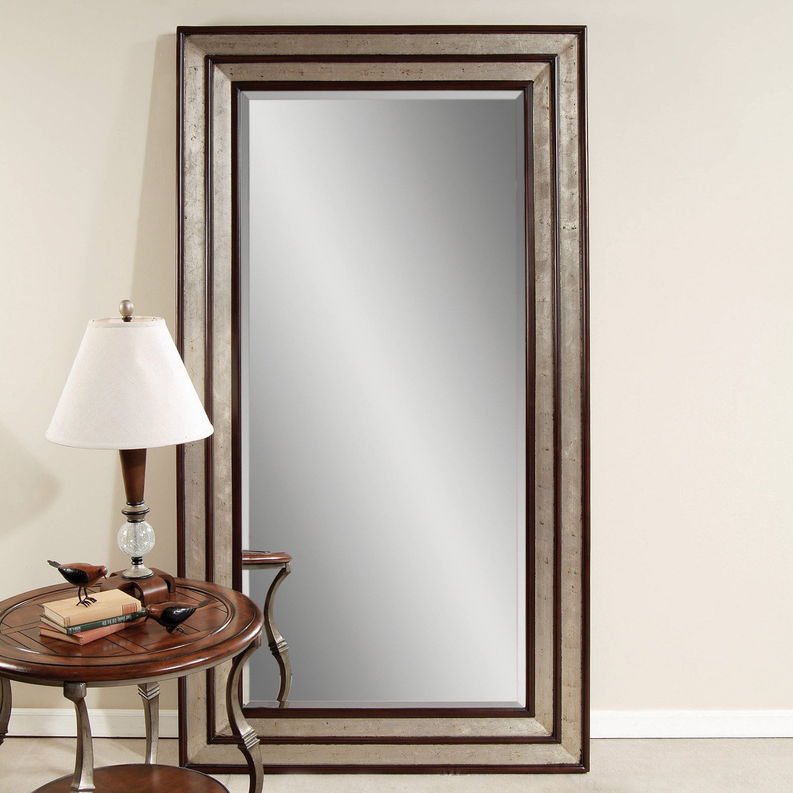 Silver Leaf Black Accent Floor Leaner Mirror W X H Fall Pertaining To Silver Frame Accent Mirrors (View 11 of 30)