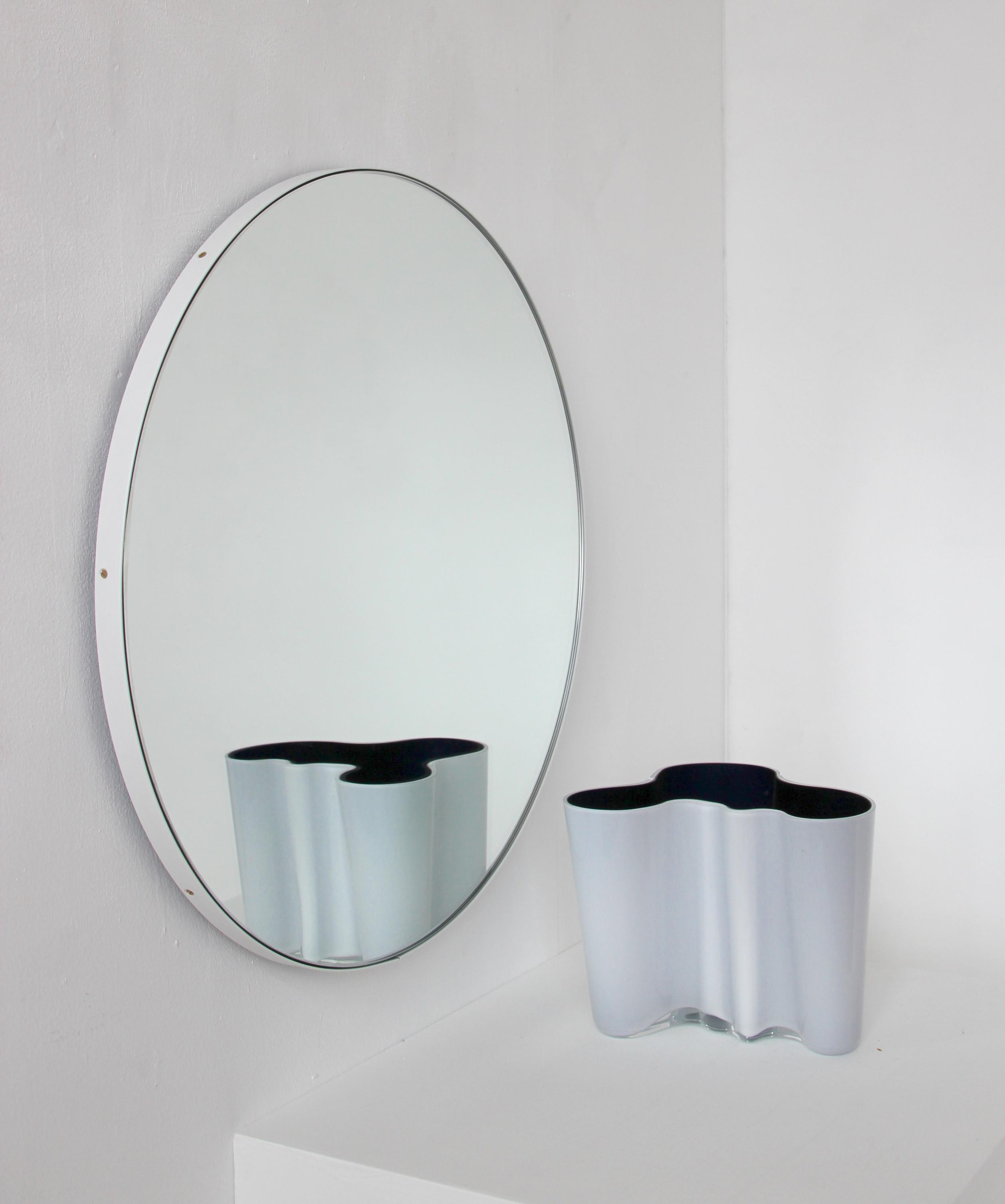 Silver Orbis Round Mirror™ With White Framealguacil inside Colton Modern & Contemporary Wall Mirrors (Image 29 of 30)