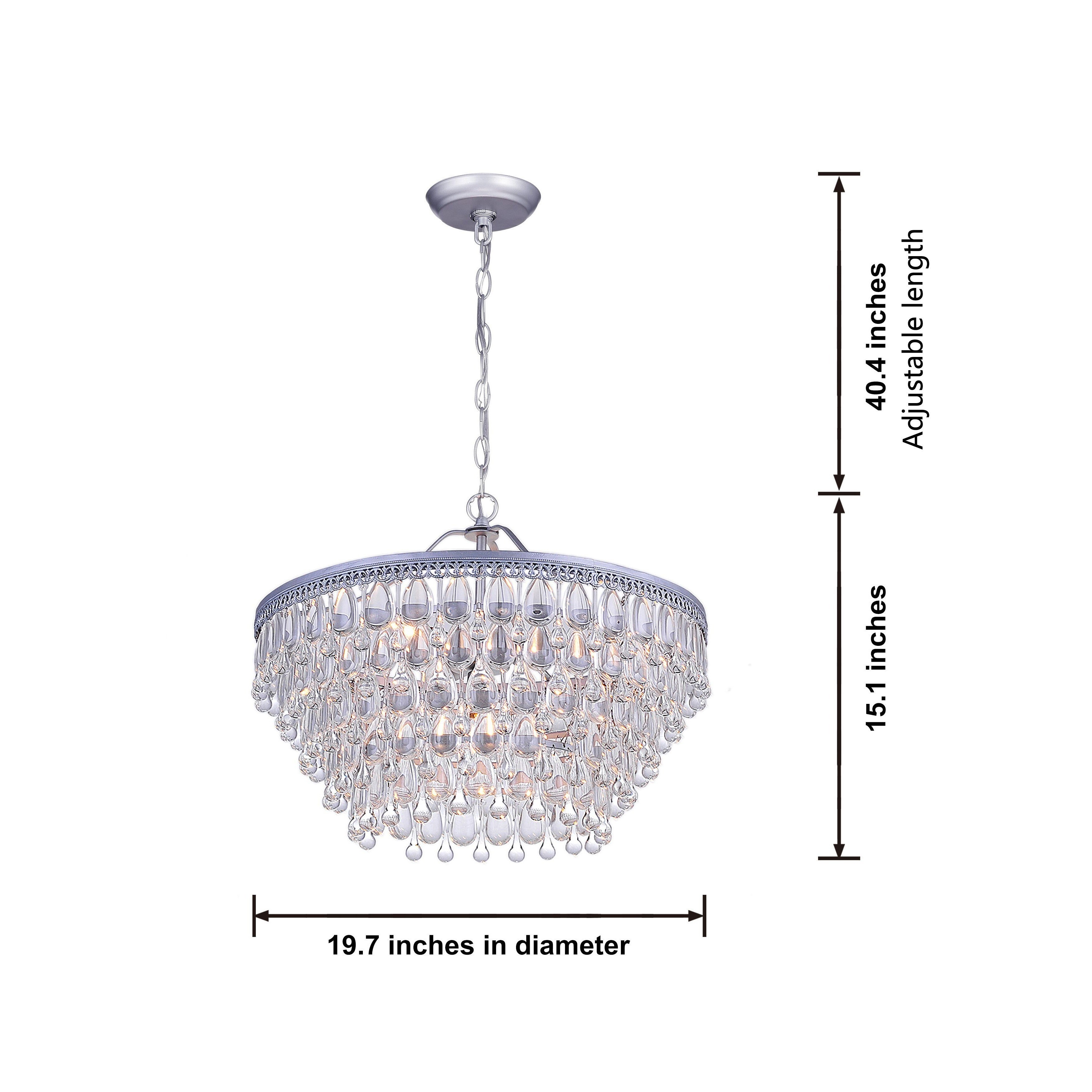 Silver Orchid Crystal 6 Light Chandelier With Clear Teardrop Beads Regarding Bramers 6 Light Novelty Chandeliers (View 13 of 30)