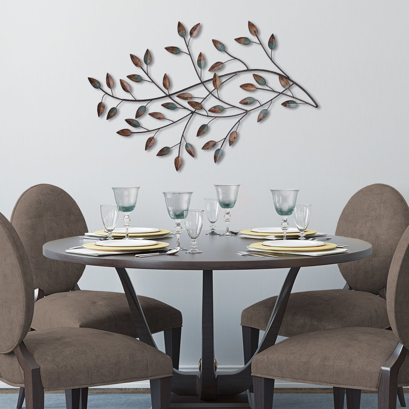 Silver Orchid Nansen Blowing Leaves Wall Decor Inside Blowing Leaves Wall Decor (View 5 of 30)