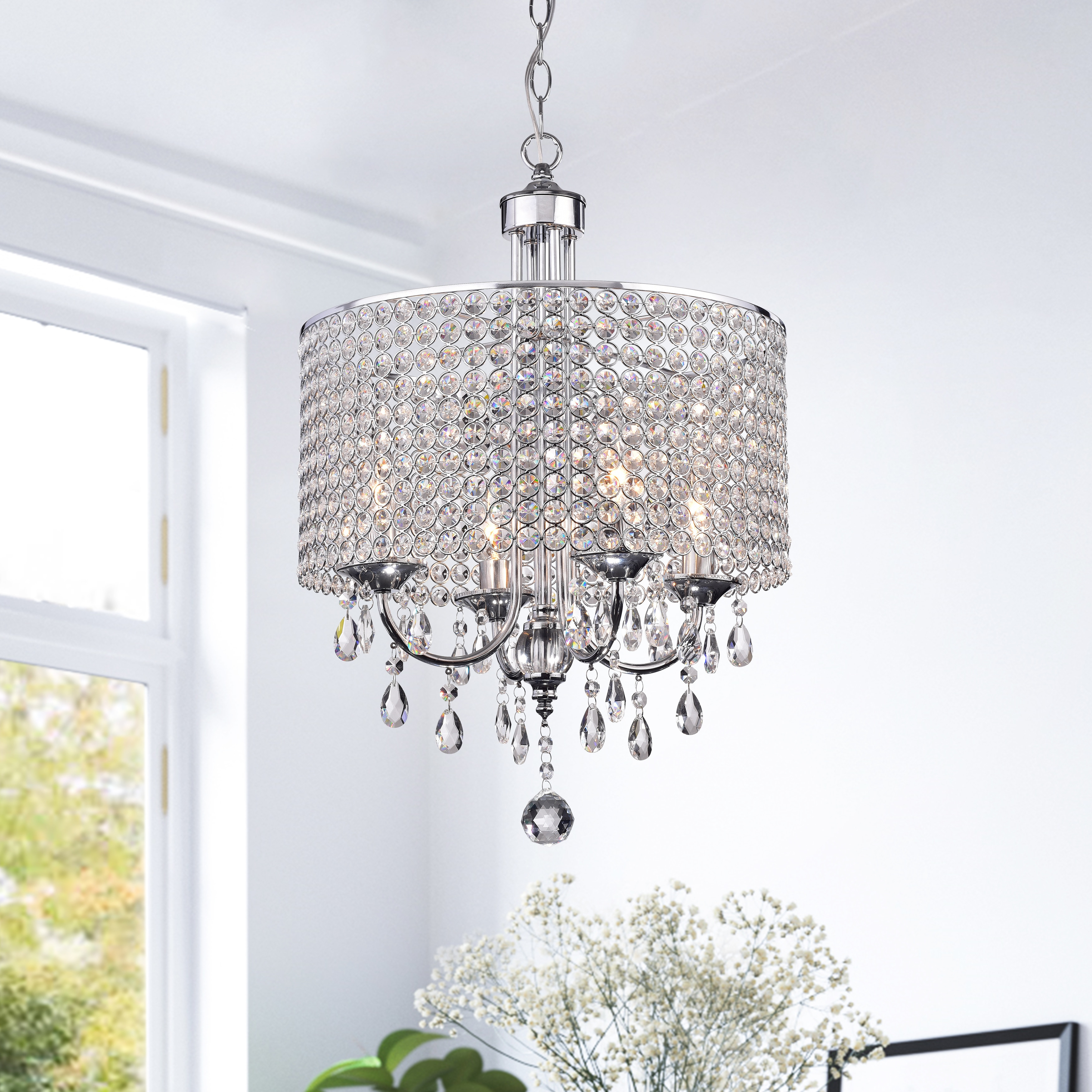 Silver Orchid Taylor 4 Light Chrome Finish Crystal Intended For Albano 4 Light Crystal Chandeliers (Image 24 of 30)