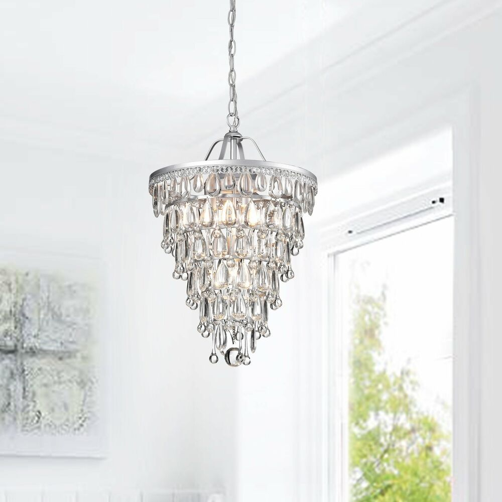 Silver Orchid Taylor Conical Matte Silver 4-Light Crystal regarding Aldgate 4-Light Crystal Chandeliers (Image 25 of 30)