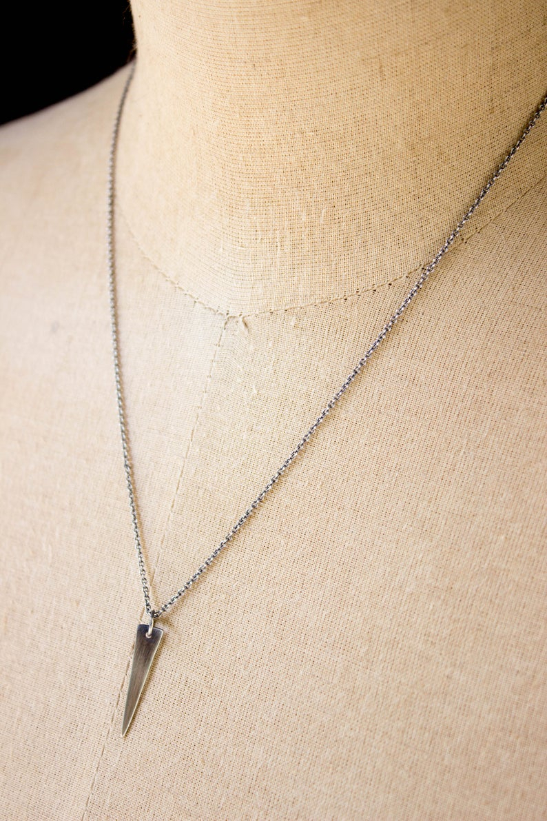 Silver Spike Pendant, Spike Necklace, Simple Geometric Jewelry, Minimalist Layering Necklace, Dainty Triangle Pendant Necklace With Knoxville 1 Light Single Teardrop Pendants (View 23 of 30)
