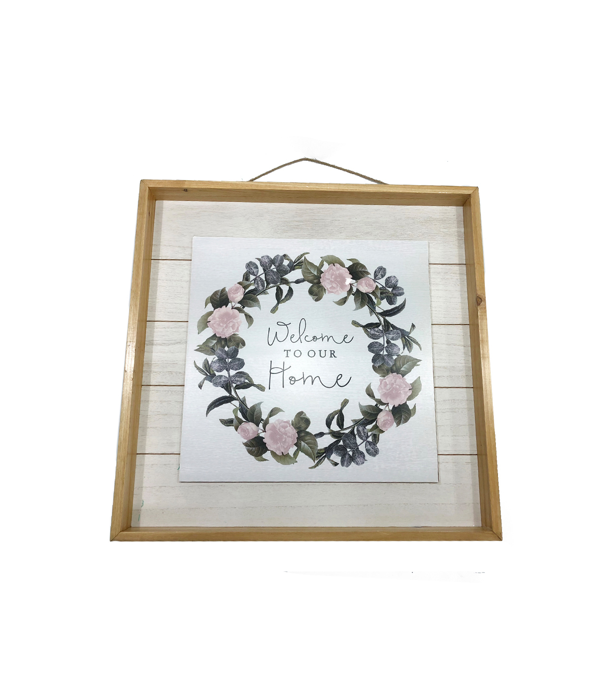 Simply Spring Wall Decor Welcome To Our Home & Wreath With Regard To Floral Wreath Wood Framed Wall Decor (View 20 of 30)
