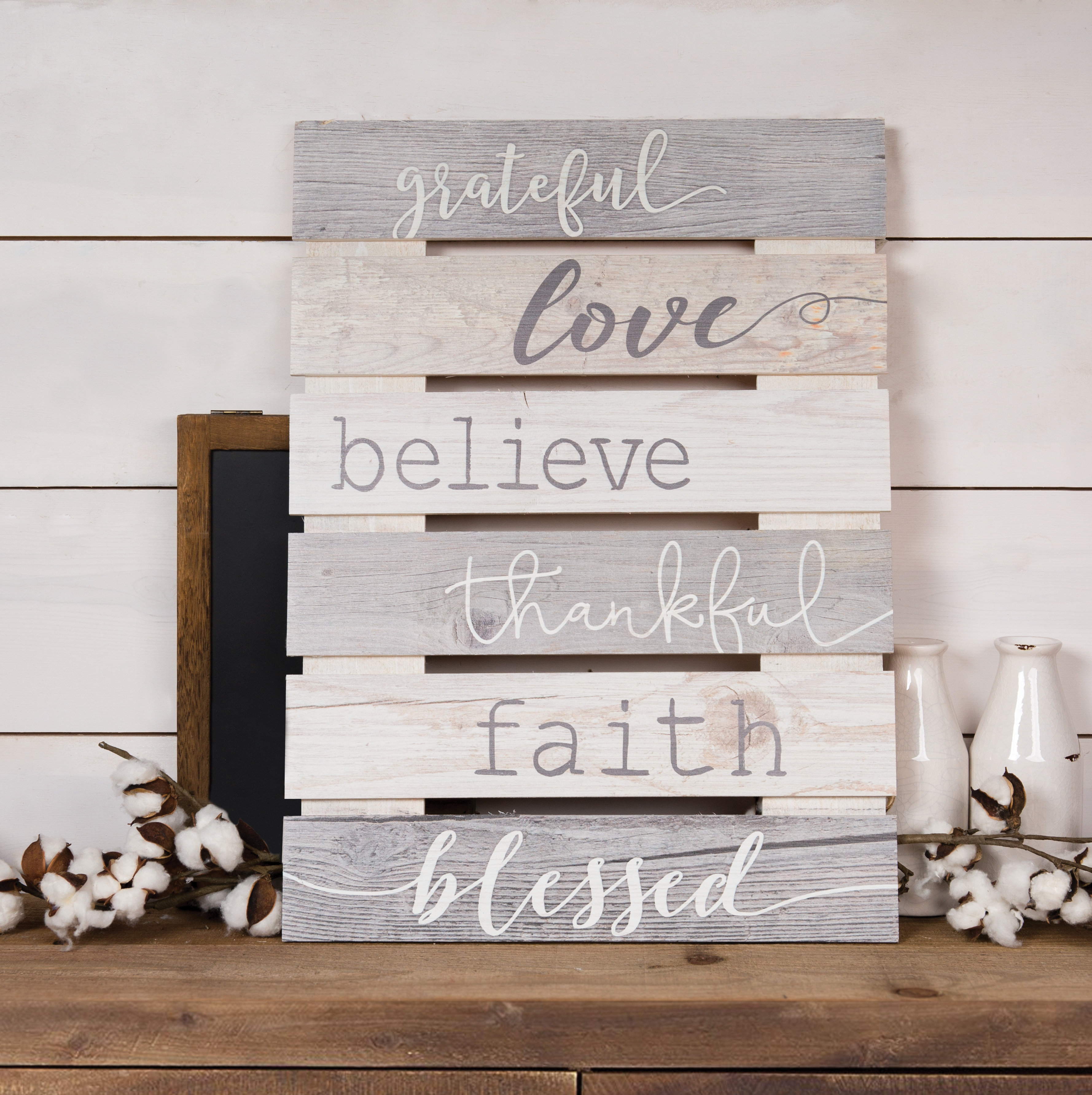 Skid Sign Grateful, Love, Believe, Thankful, Faith, Blessed Wall Décor Inside 3 Piece Wash, Brush, Comb Wall Decor Sets (set Of 3) (View 14 of 30)