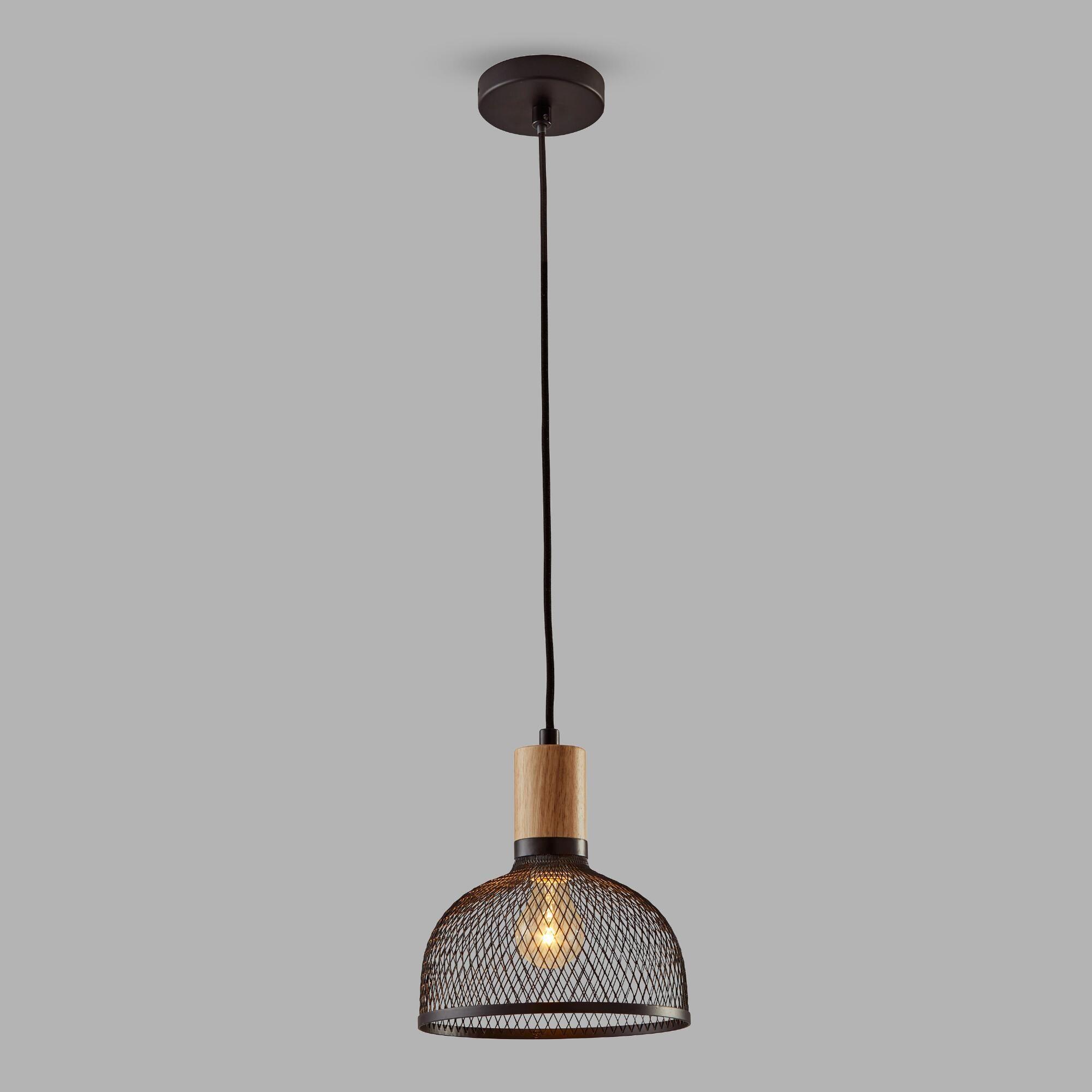 Small Black Mesh And Wood Clint Pendant Lamp: Black/natural Regarding Devereaux 1 Light Single Globe Pendants (View 10 of 30)