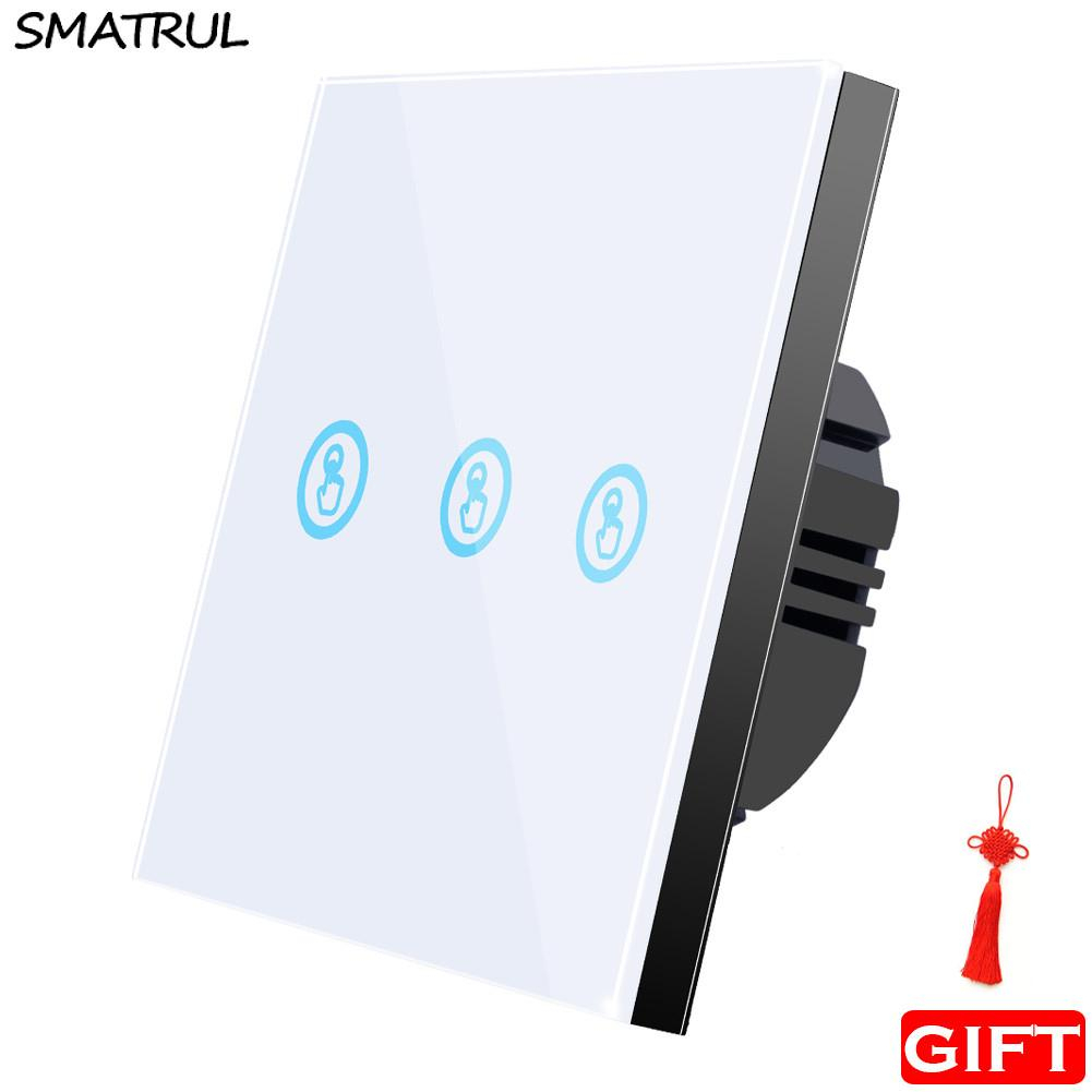 Smatrul Touch Wall Switch Smart Light Control Led Lamp Crystal Glass Screen  Panel Three Key 3 Gang Ac 110V 220V 240V Standard Sensor On Off within Decorative Three Stacked Coffee Tea Cups Iron Widget Wall Decor (Image 24 of 30)