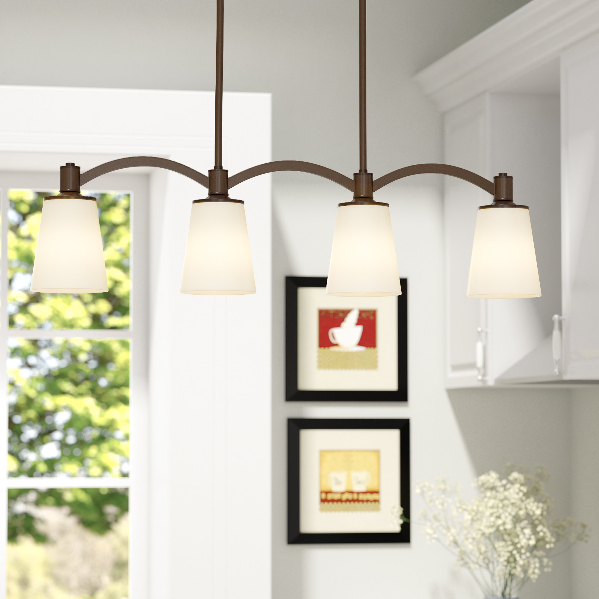 Smithville 4-Light Kitchen Island Pendant with Cinchring 4-Light Kitchen Island Linear Pendants (Image 30 of 30)