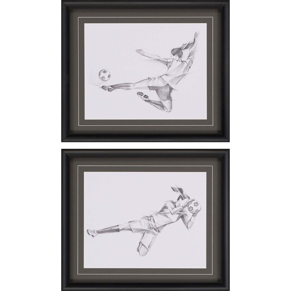 Soccer Sketchharper 2 Piece Framed Painting Print Set throughout 2 Piece Trigg Wall Decor Sets (Set Of 2) (Image 19 of 30)