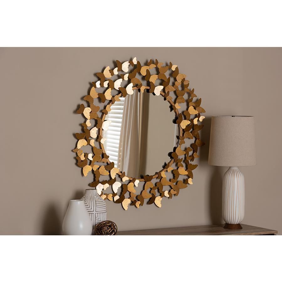 Soleil Modern And Contemporary Antique Gold Finished Butterfly Accent Wall Mirrorbaxton Studio Within Modern & Contemporary Beveled Accent Mirrors (View 28 of 30)