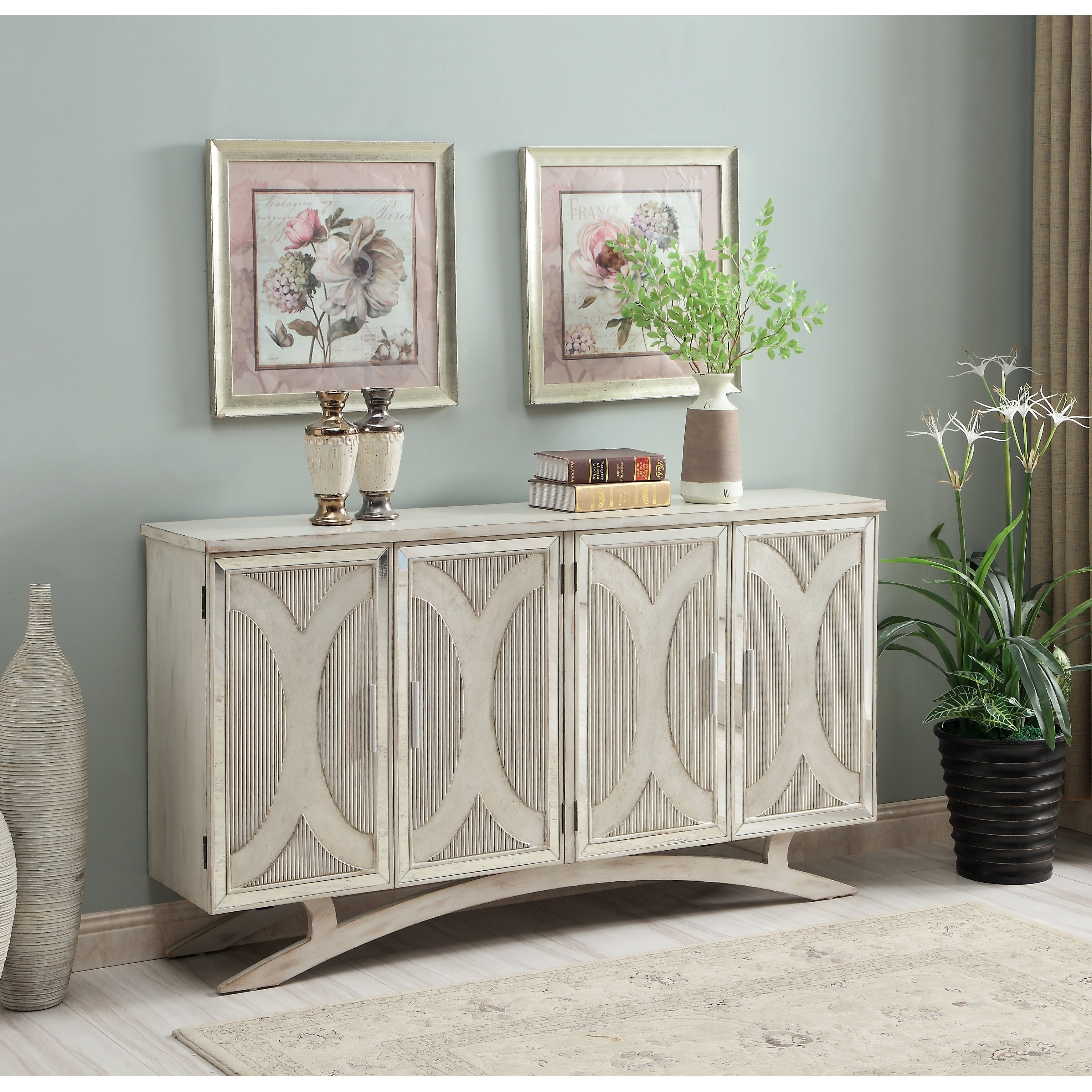 Somette Millicent White And Silver Rub Four Door Media Inside Raunds Sideboards (View 9 of 30)