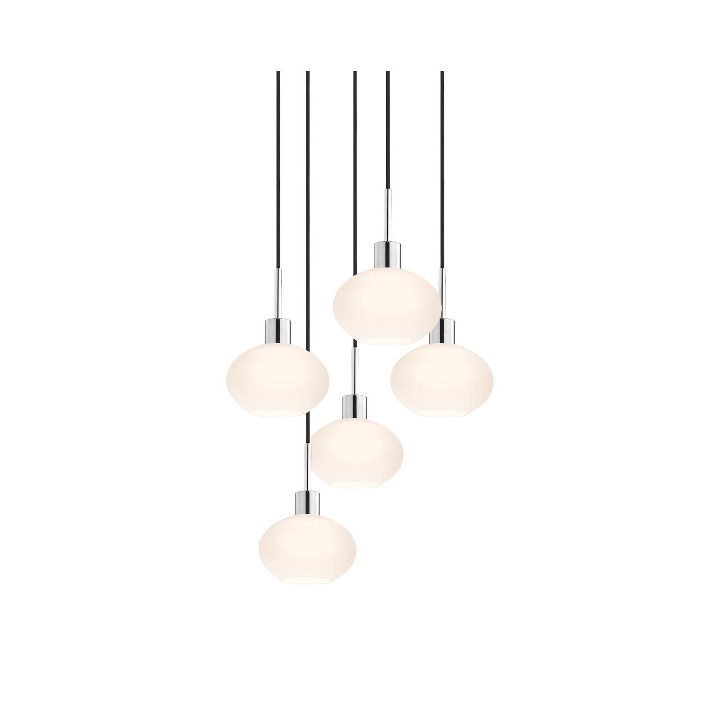 Sonneman Lighting Glass Pendants – 5 Light Polished Chrome Demi Oval Cluster Pendant Within Demi 1 Light Globe Pendants (View 15 of 30)