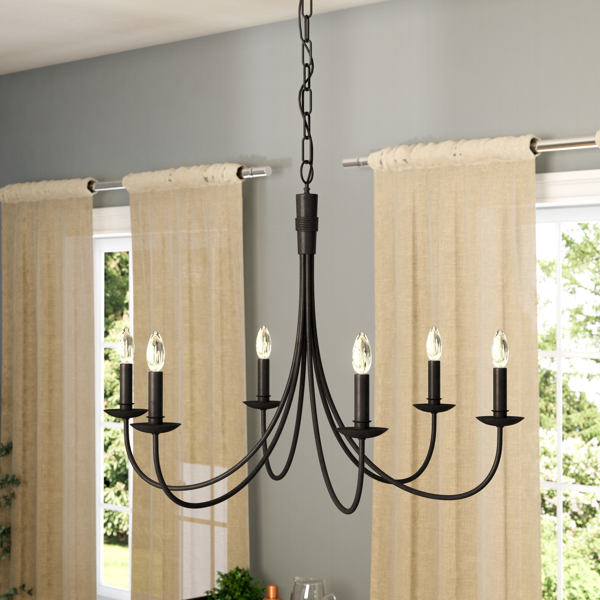 Souders 6 Light Candle Style Chandelier Throughout Hamza 6 Light Candle Style Chandeliers (View 4 of 30)