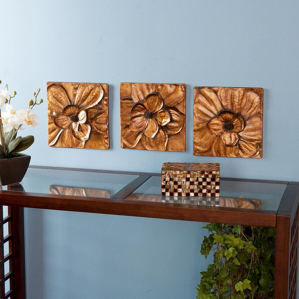 Southern Enterprises 10 In. X 10 In. Magnolia Wall 3-Piece throughout 3 Piece Magnolia Brown Panel Wall Decor Sets (Image 23 of 30)
