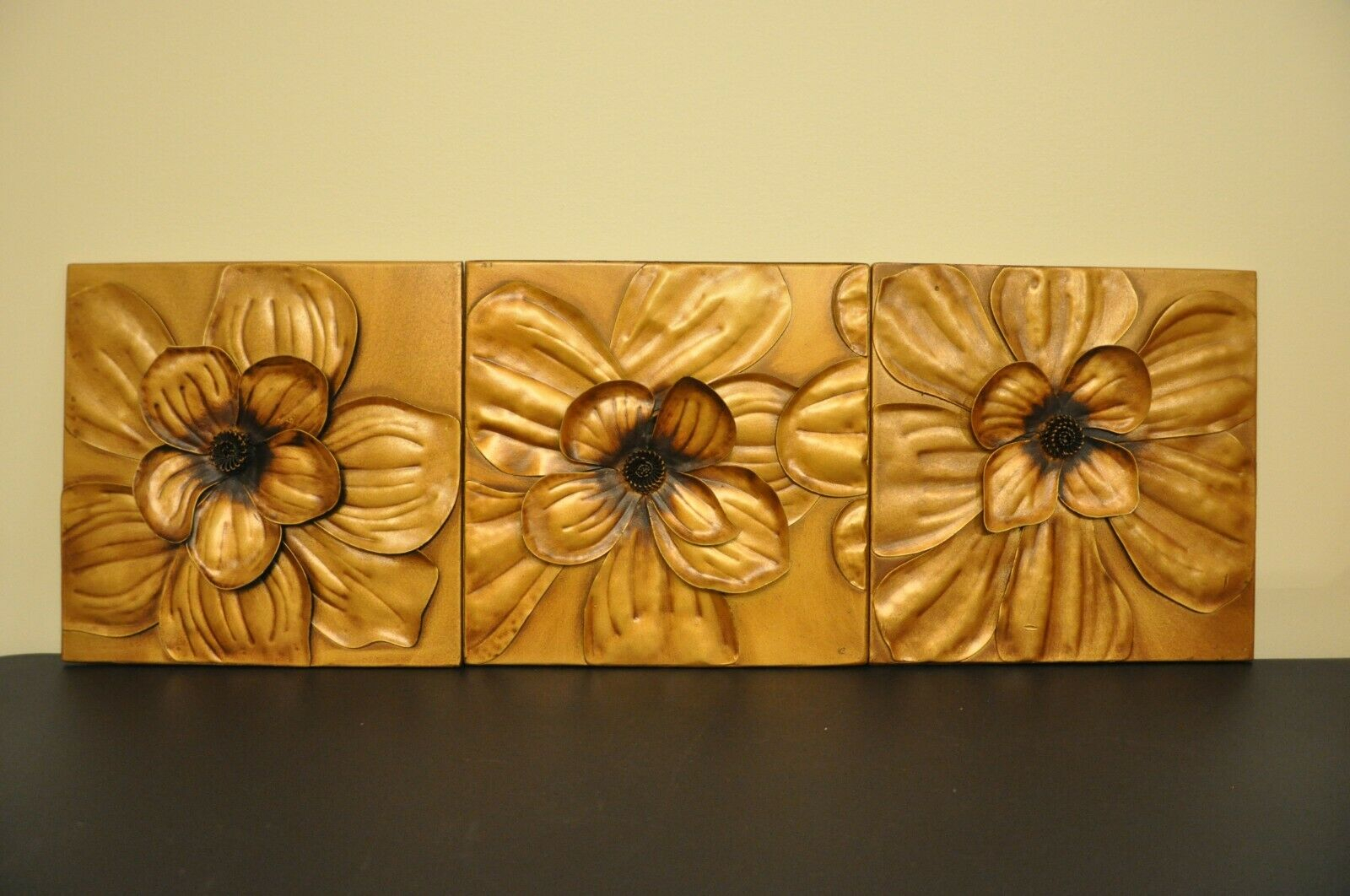 Southern Enterprises Magnolia Wall Panel 3Pc Set - Gold pertaining to 3 Piece Magnolia Brown Panel Wall Decor Sets (Image 27 of 30)