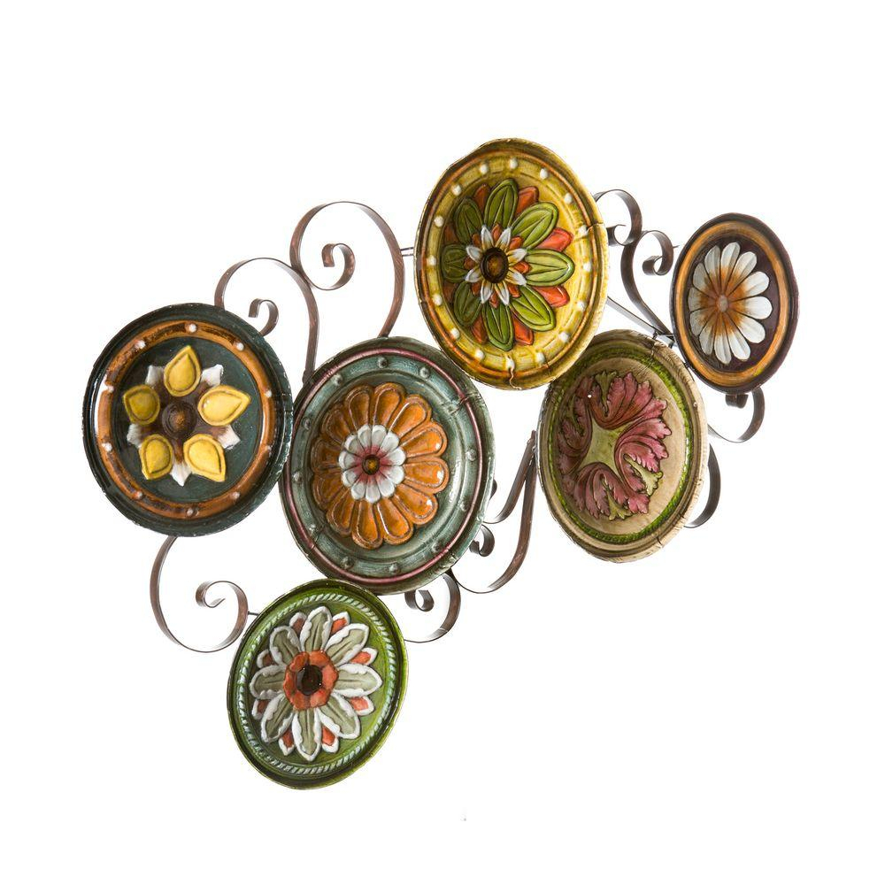 Popular Photo of Scattered Metal Italian Plates Wall Decor