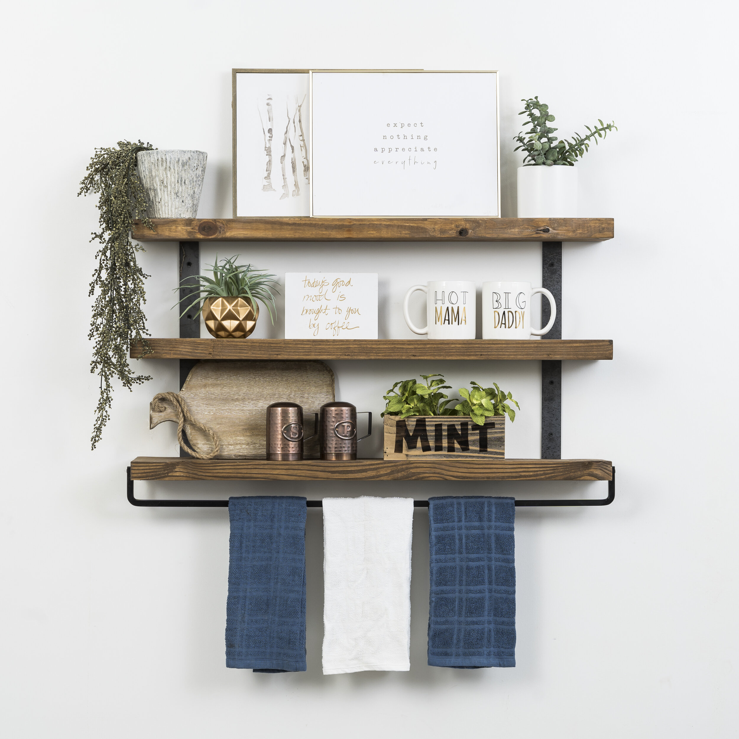 Spenser 3 Tier Floating Wall Shelf Regarding Farm Metal Wall Rack And 3 Tin Pot With Hanger Wall Decor (View 8 of 30)