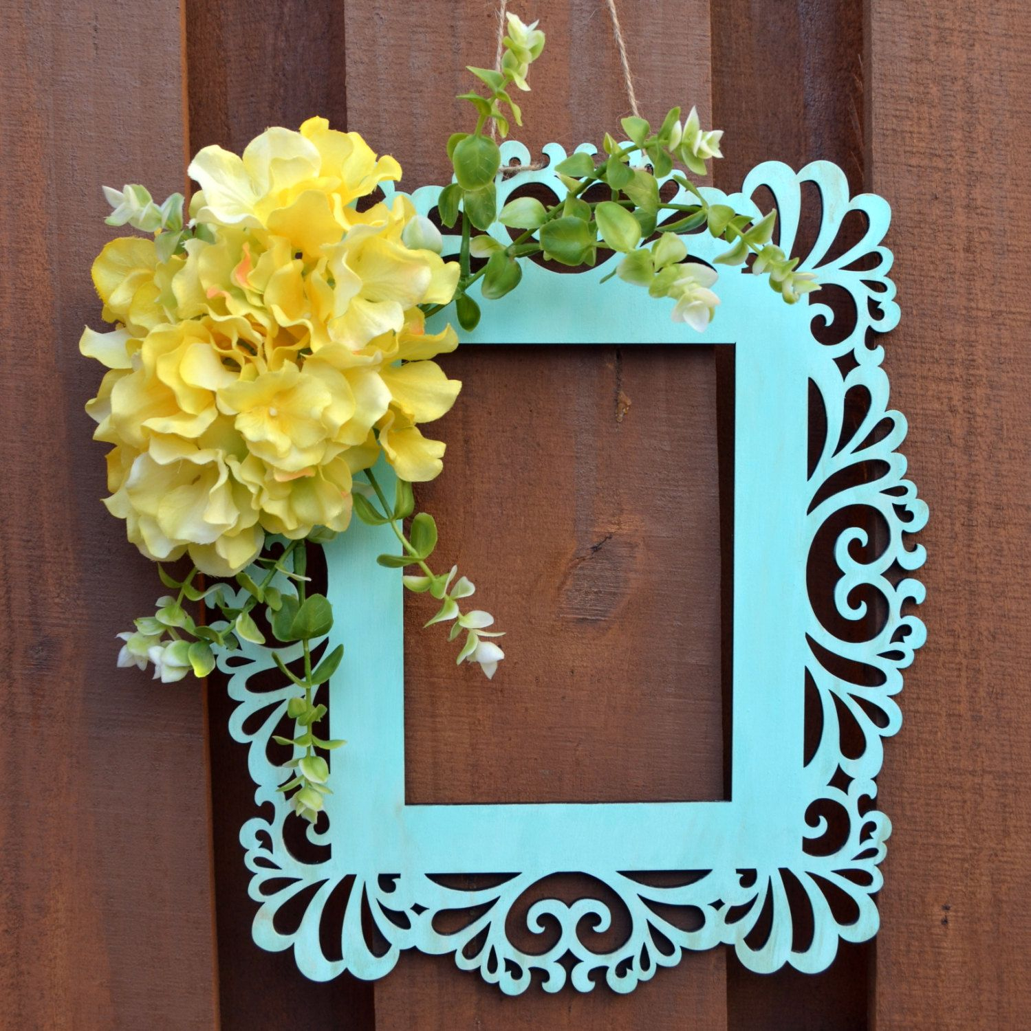 Spring Frame Wreath – Spring Door Hanger – Wall Decor With Floral Wreath Wood Framed Wall Decor (View 15 of 30)