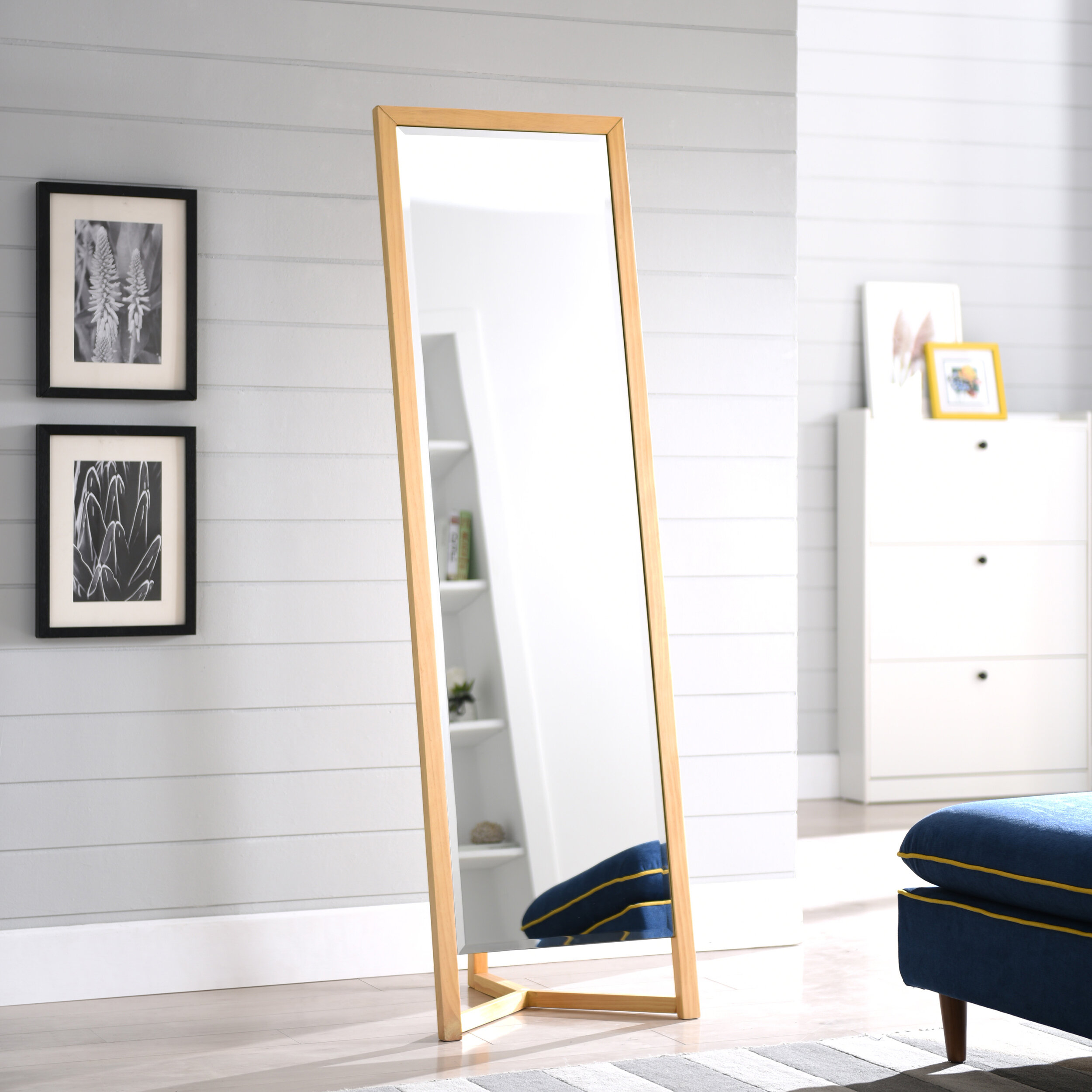 Springs Modern And Contemporary Distressed Full Length Mirror regarding Jameson Modern & Contemporary Full Length Mirrors (Image 26 of 30)
