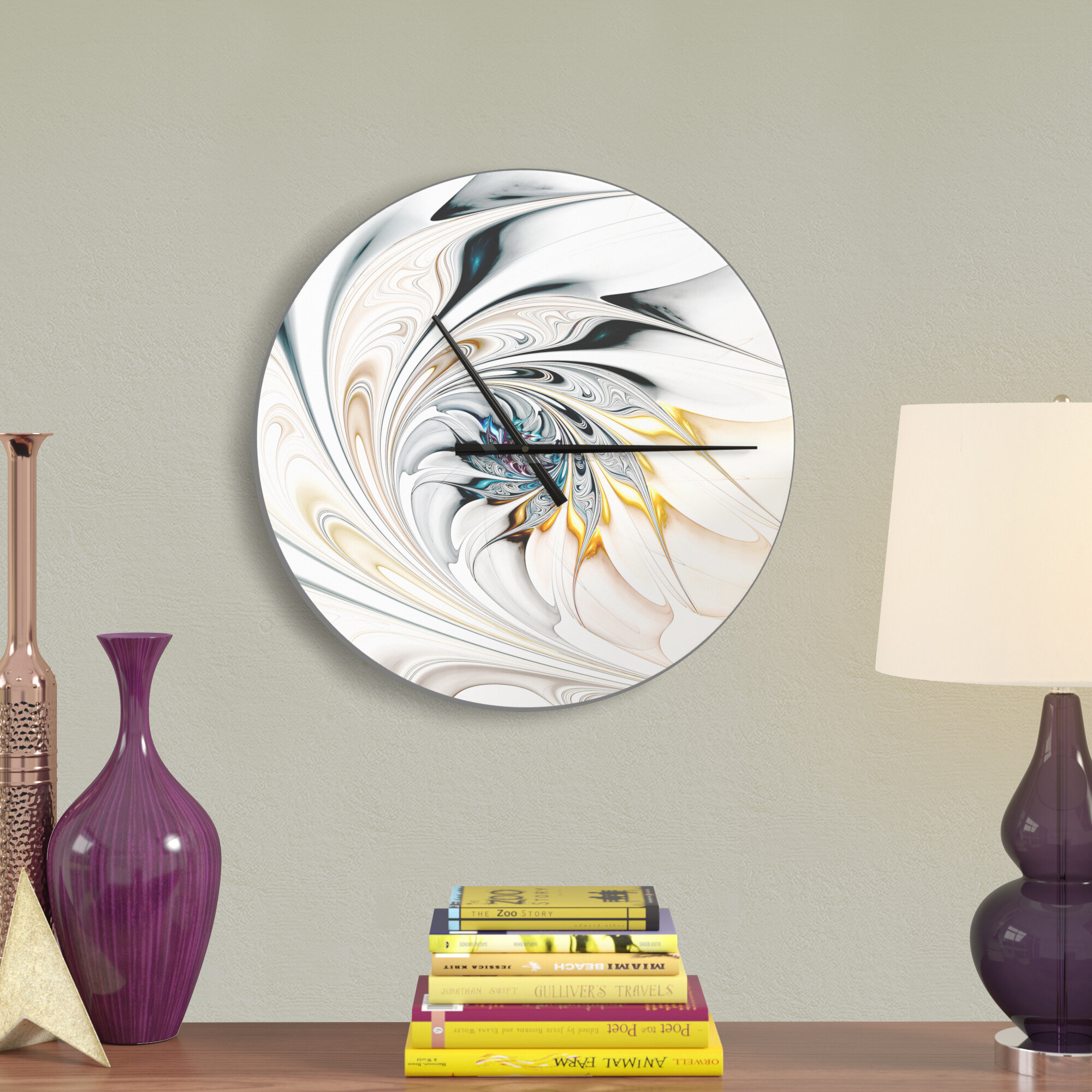Stained Glass Floral Art Wall Clock Within Vase And Bowl Wall Decor By Alcott Hill (View 9 of 30)