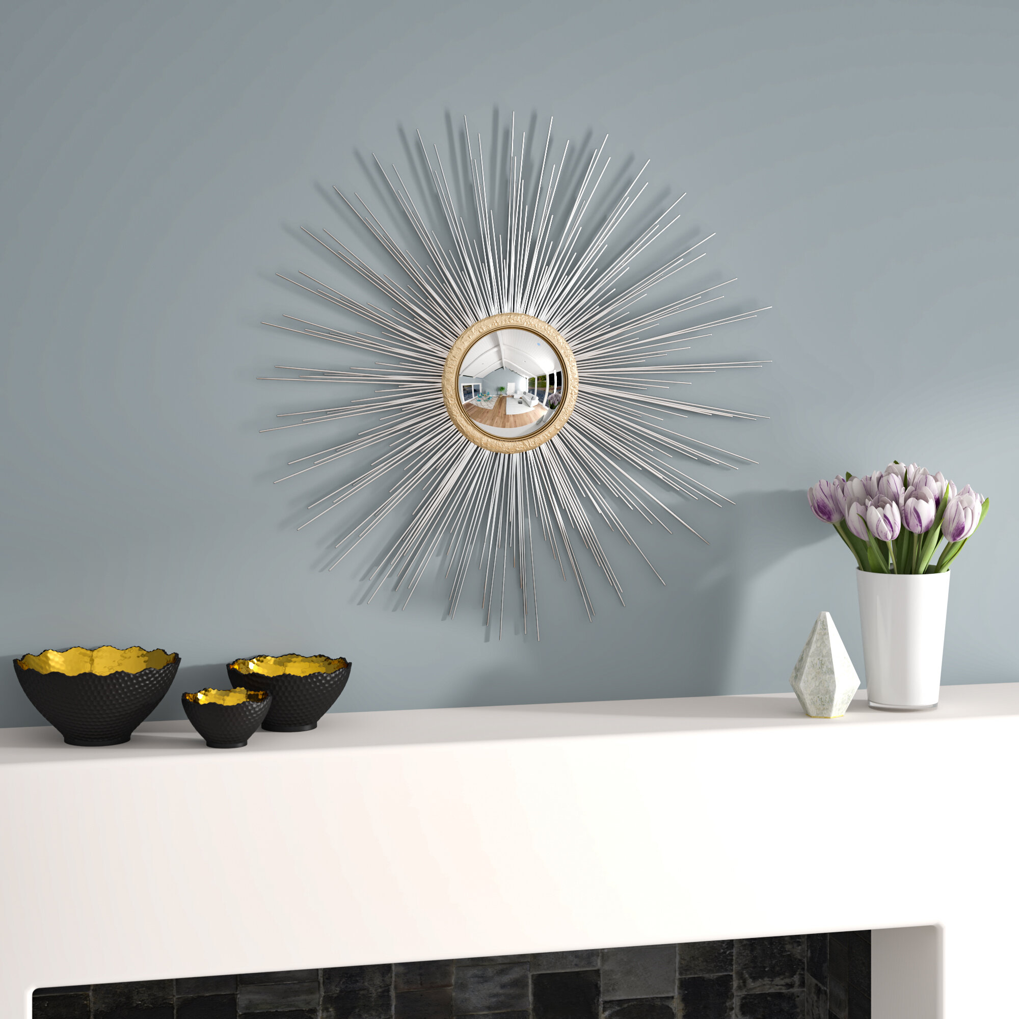 Starburst Sculpture | Wayfair with Set of 3 Contemporary 6, 9, and 11 Inch Gold Tin Starburst Sculptures (Image 25 of 30)