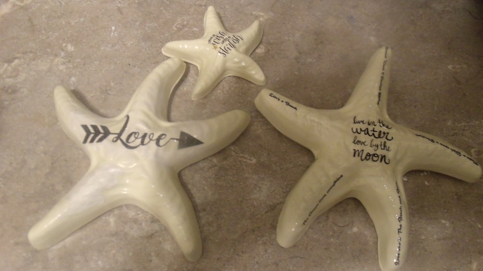 Starfish Plaster Wall Decor, Chalkware Starfish Set Of 3, Plastercraft Wall  Hanging, Sand And Sea, Nautical Decor, Wish Upon A Starfish within 3 Piece Star Wall Decor Sets (Image 26 of 30)