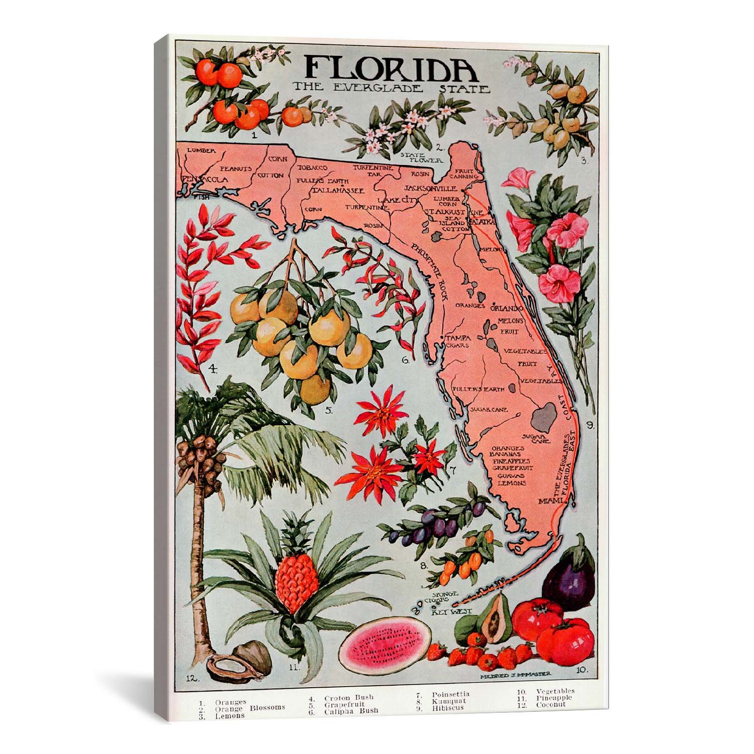 'state Map Of Florida (Natural Resources) – Vintage Poster' Graphic Art Print For Casual Country Eat Here Retro Wall Decor (View 1 of 30)