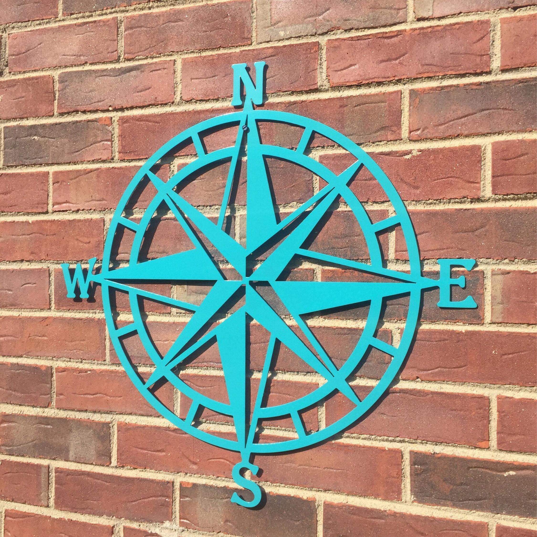 Steel Nautical Star Compass Wall Art, Nautical Decor, Metal Wall Art, Lake House Decor, Beach House Decor, Outdoor Metal Wall Art In Outdoor Metal Wall Compass (View 23 of 30)