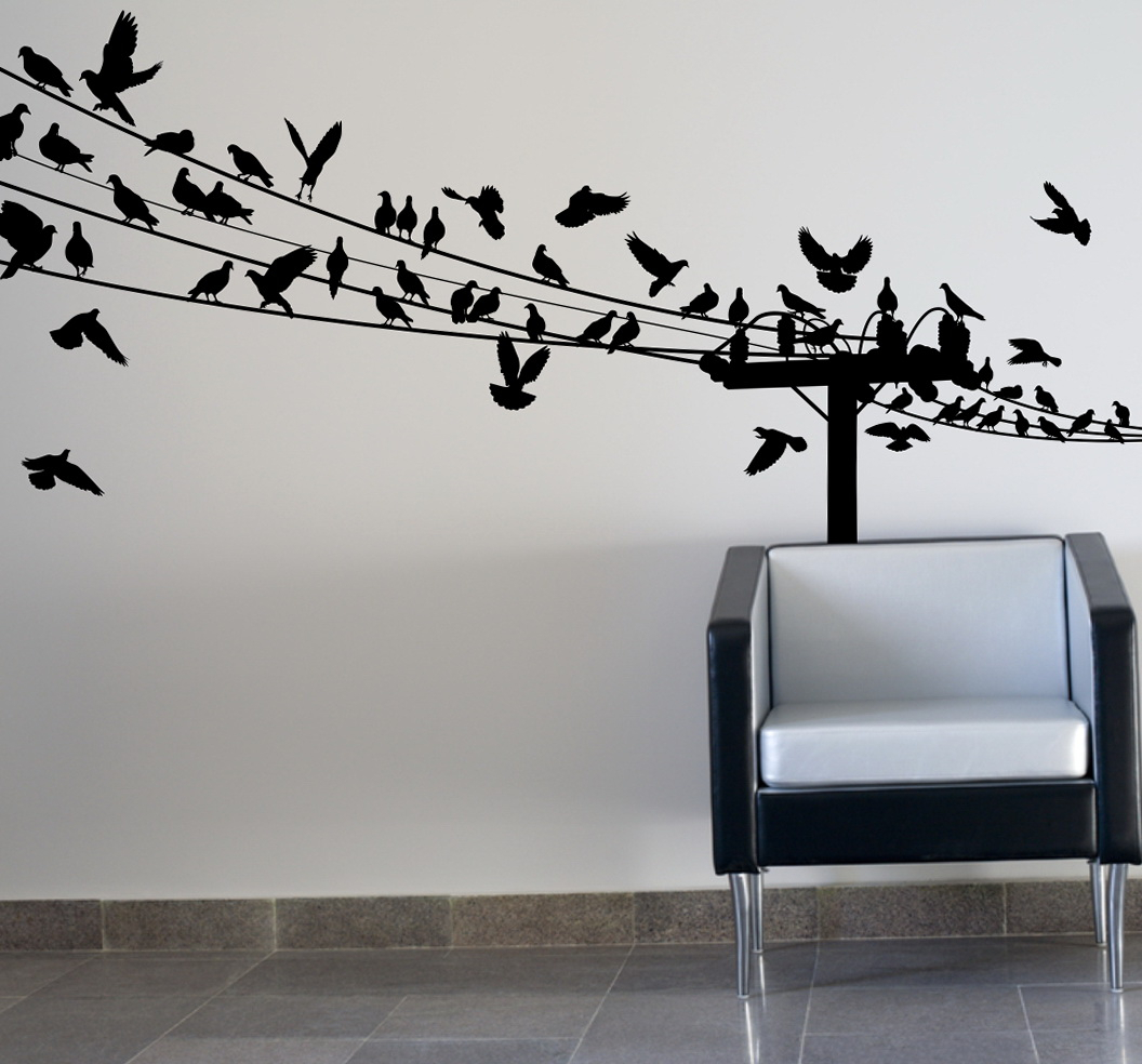 Stickers Birds On A Wire Wall Art Flying Decor Angry Walmart with Birds on a Wire Wall Decor (Image 24 of 30)