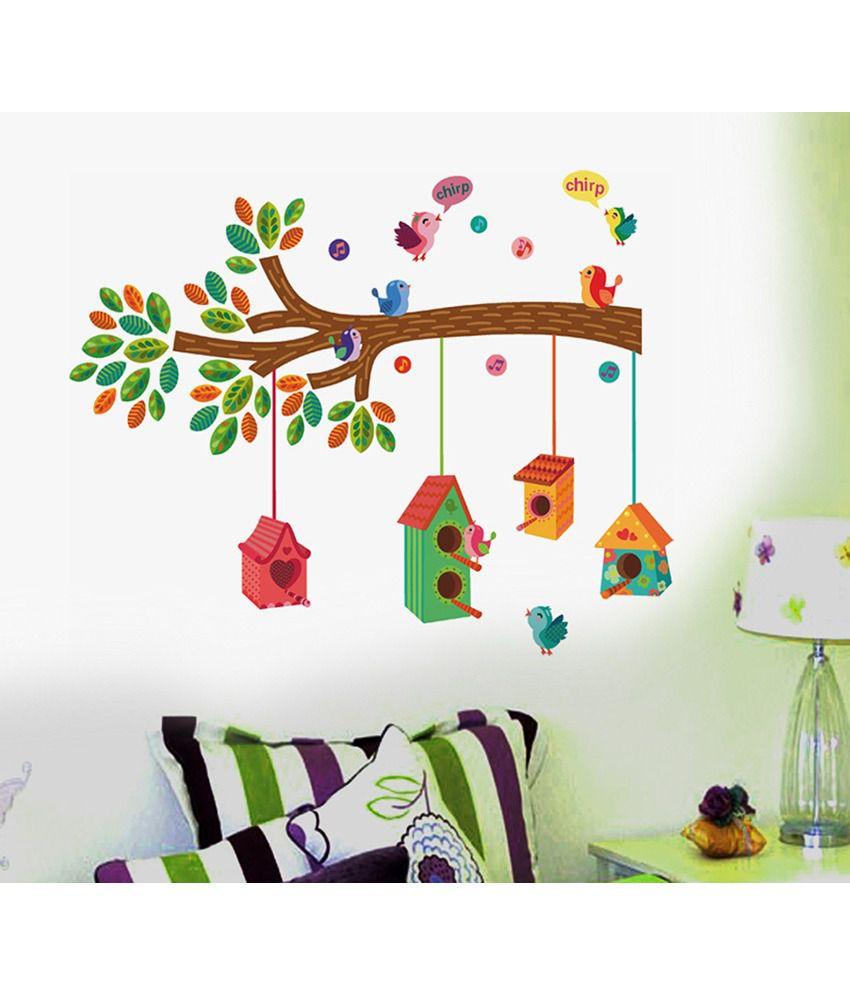 Stickerskart Nursery Colourful Bird House On A Branch Wall Decor – Multicolour (50x70 Cms) Inside Birds On A Branch Wall Decor (View 13 of 30)