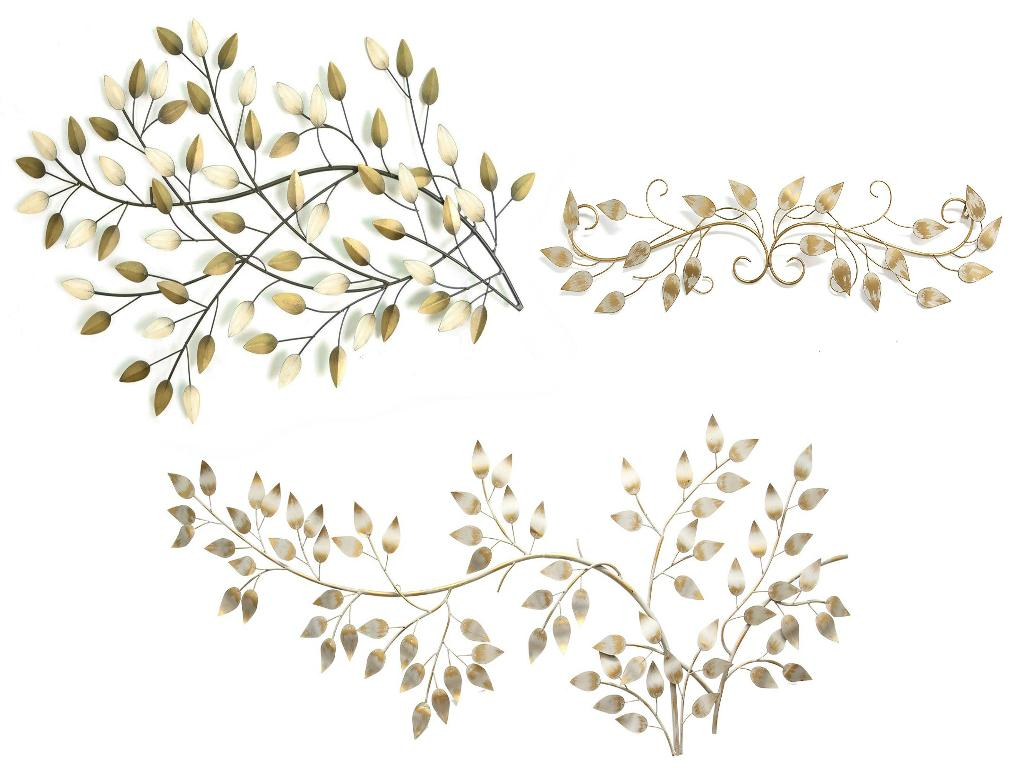 Stratton Home Blowing Leaves Wall Decor, Brushed Gold Over The Door Scroll  Wall Decor, With Brushed Flowing Leaves Wall Dcor for Blowing Leaves Wall Decor (Image 17 of 30)